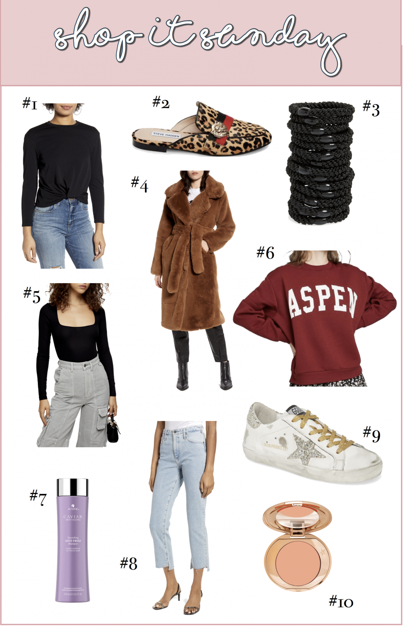 SHOP-IT SUNDAY // READERS FAVORITES FROM LAST WEEK by popular US life and style blog, The Sweetest Thing: collage image of golden good sneakers, Nordstrom Knot Front Tee BP., Steve Madden KARISMA LEOPARD, Nordstrom Longline Faux Fur Coat NA-KD, Nordstrom Long Sleeve Square Neck Bodysuit TOPSHOP, Target Wild Fable Women's Oversized Crewneck Aspen Graphic Sweatshirt, Nordstrom Caviar Anti-Aging Anti-Frizz Shampoo ALTERNA, and Nordstrom Magic Vanish! Color Corrector CHARLOTTE TILBURY.