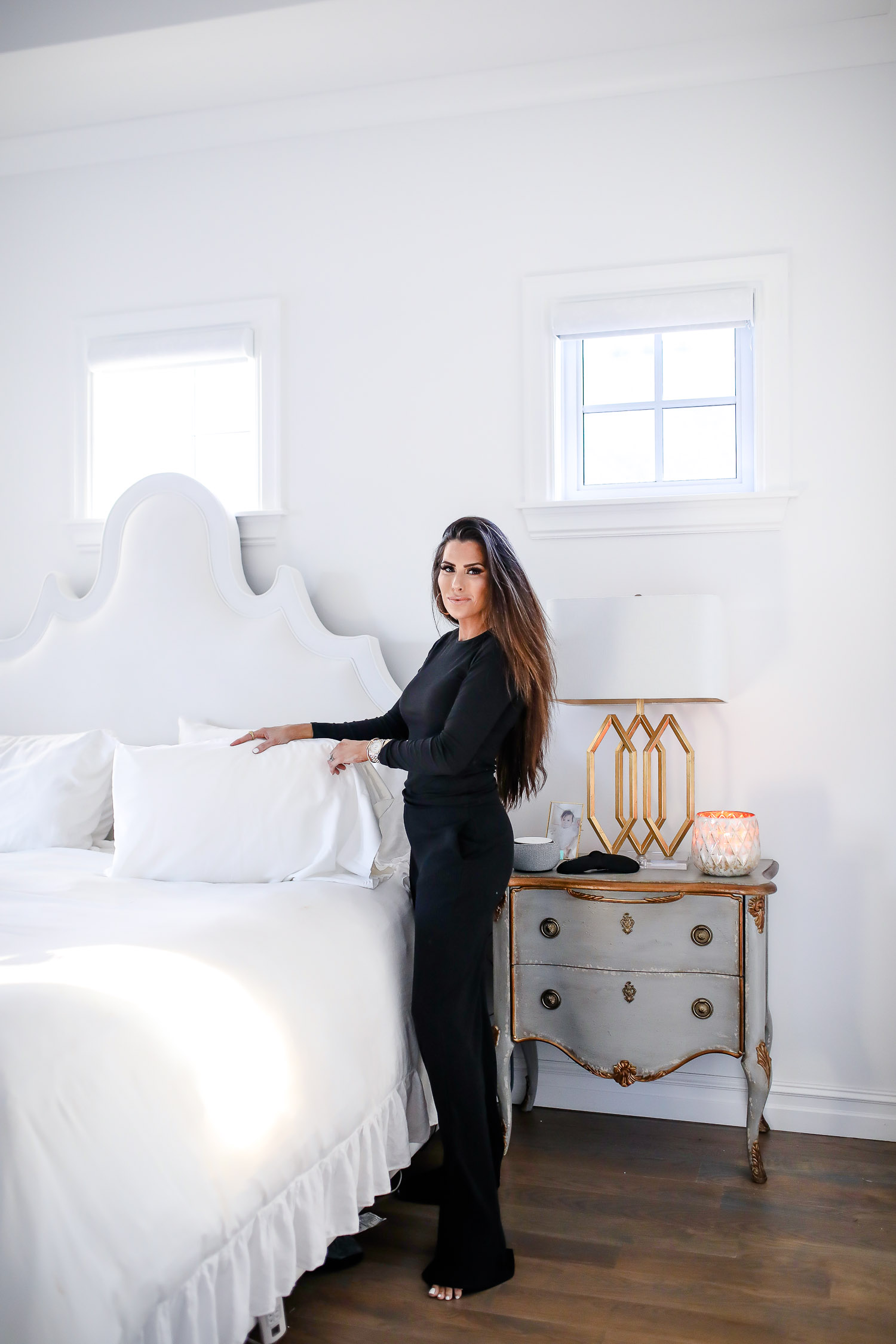 verishop, verishop review, pinterest master bedroom inspo, emily gemma, hooker furniture nightstands-2 | Comfortable Loungewear by popular US fashion blog, The Sweetest Thing: image of Emily Gemma wearing a Lett Montreal Rib Top and a Lett Heathrow Wide Leg Pant.