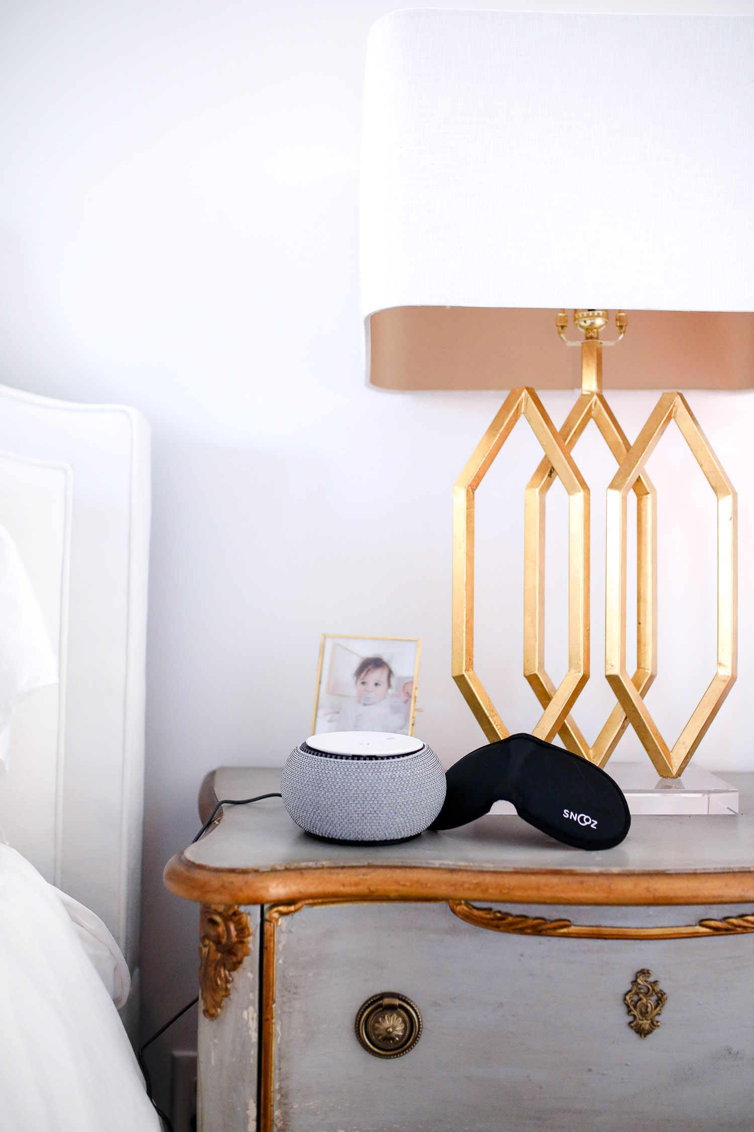 verishop, verishop review, pinterest master bedroom inspo, emily gemma, hooker furniture nightstands-2 | Cozy Essentials by popular US fashion blog, The Sweetest Thing: image of a nightstand with a Snooz SNOOZ White Noise Sound Machine and Snooz sleep mask.