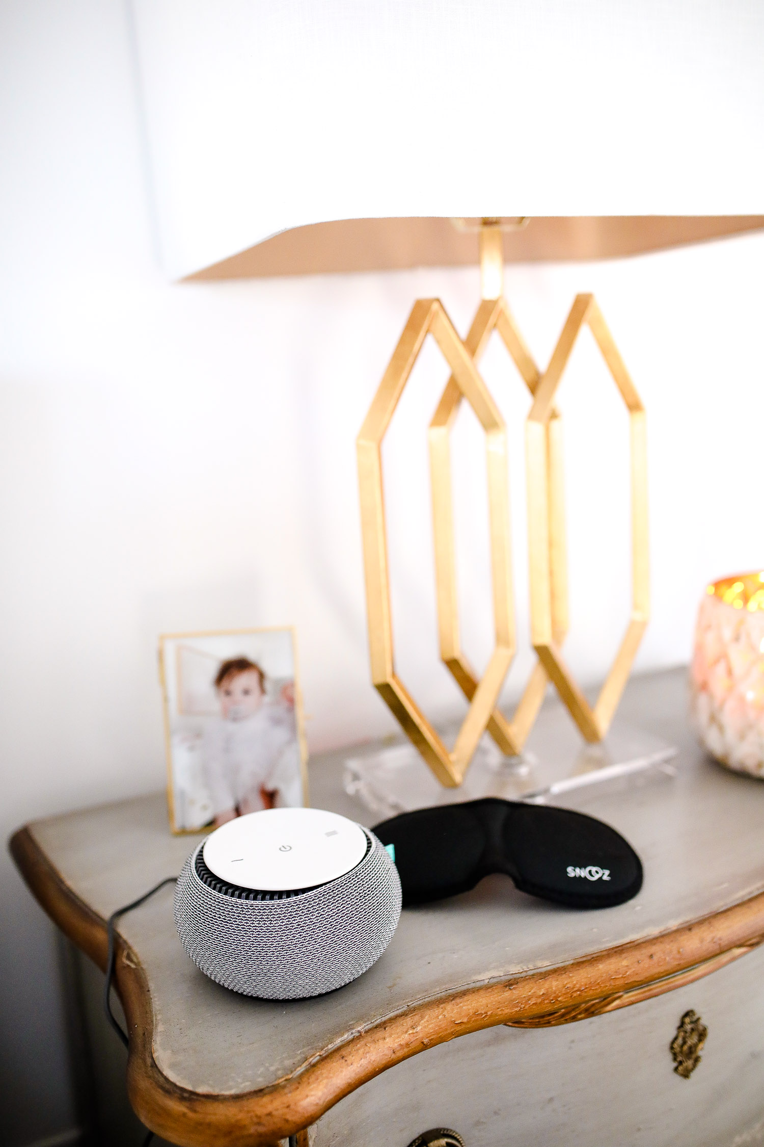 verishop, verishop review, pinterest master bedroom inspo, emily gemma, hooker furniture nightstands-2 | Cozy Essentials by popular US fashion blog, The Sweetest Thing: image of a night stand with a Verishop Snooz sleep mask and a Verishop Snooz Snooz SNOOZ White Noise Sound Machine.