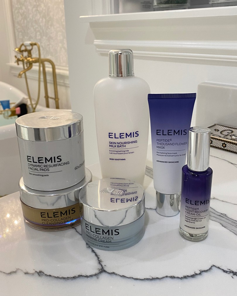 How To Get Rid of Melasma by popular US beauty blog, The Sweetest Thing: image of various Elemis skincare products.