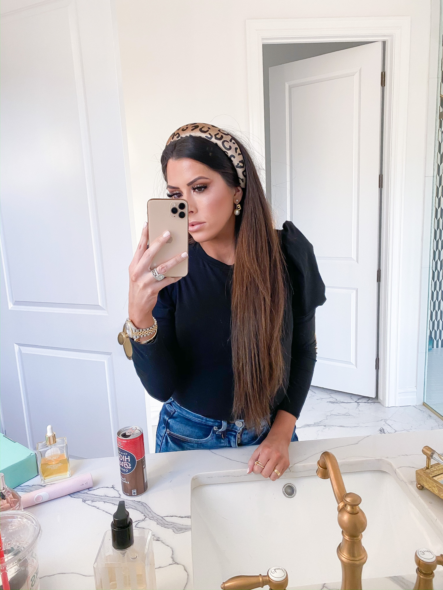 Instagram Recap by popular US fashion blog, The Sweetest Thing: image of a woman wearing a Nordstrom On the Prowl Leopard Print Headband 8 OTHER REASONS and Nordstrom Puff Shoulder Crop Tee ONE CLOTHING.