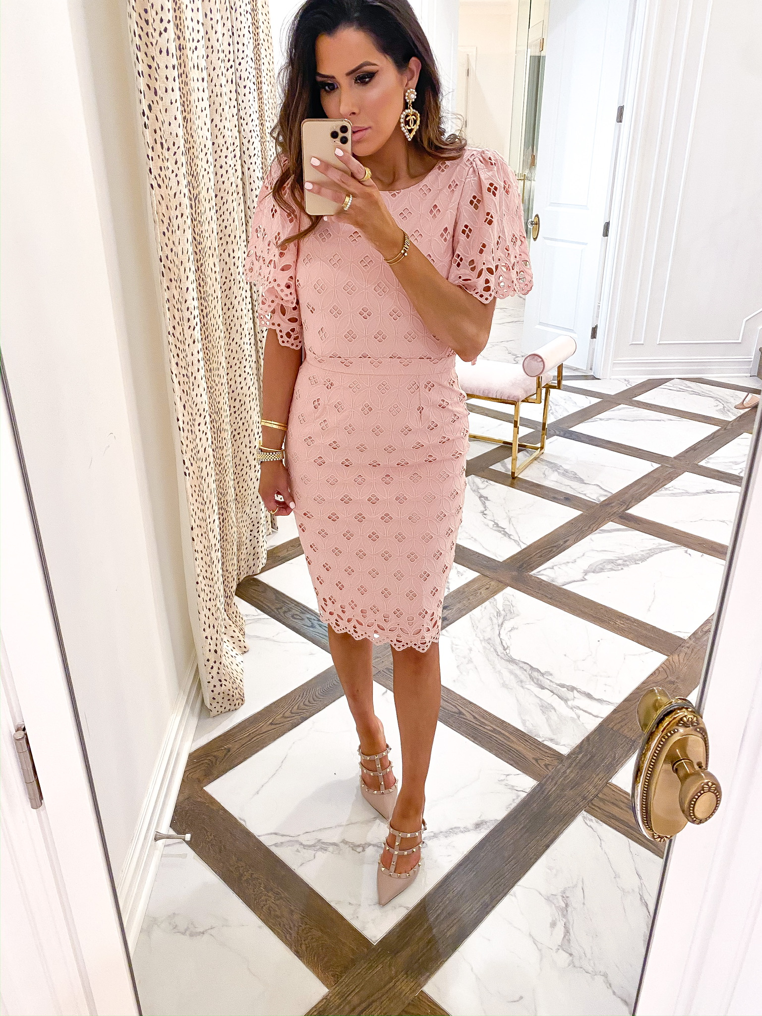Valentine's Day Outfit Ideas by popular US fashion blog, The Sweetest Thing: image of a woman wearing a Nordstrom Eyelet Sheath Dress RACHEL PARCELL, Nordstrom Rockstud T-Strap Pump VALENTINO GARAVANI, Chanel earrings, Cartier rings, and Dior and Cartier bracelets.
