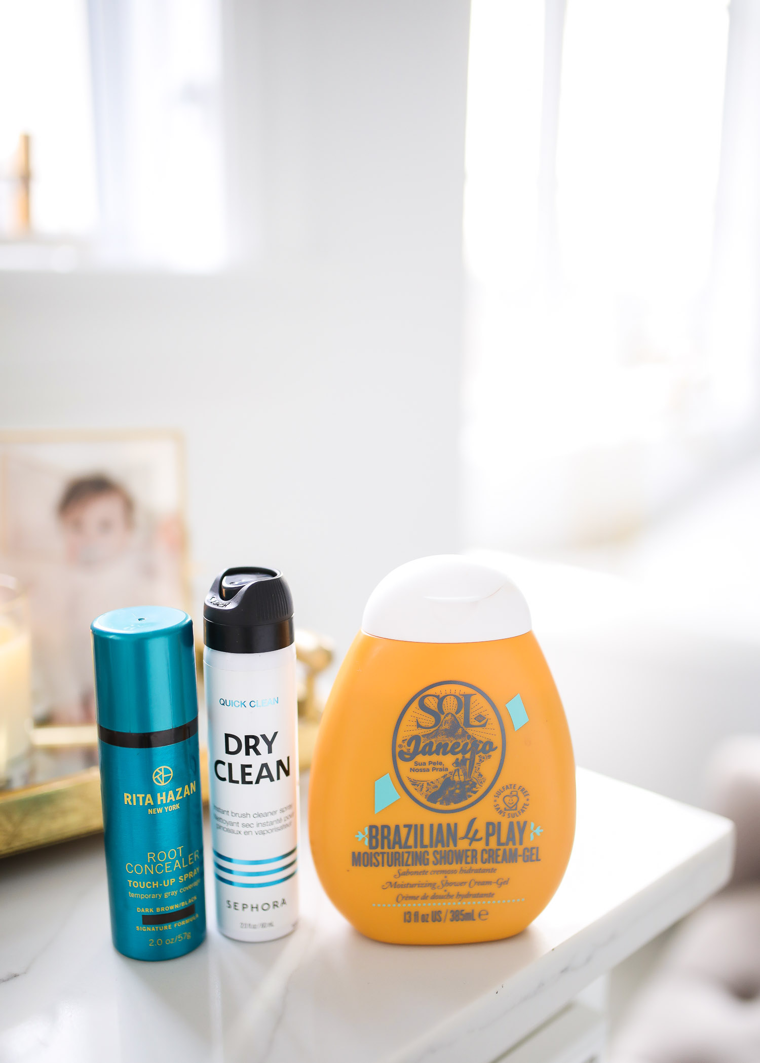 Sephora Favorites by popular US beauty blog, The Sweetest Thing: image of Rita Hazan foot concentrate, Sephora Dry Clean, and Brazilian 4 Play moisturizing shower cream gel.