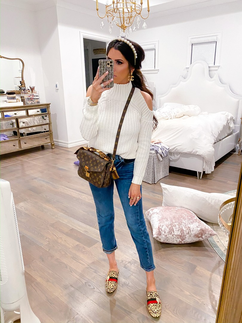 Instagram Fashion by popular US fashion blog, The Sweetest Thing: image of a woman wearing Steve Madden KARISMA LEOPARD flats, Express Super High Waisted Dark Wash Mom Jeans, and Revolve Marta Pearl Headband Lovers + Friends brand: Lovers + Friends.