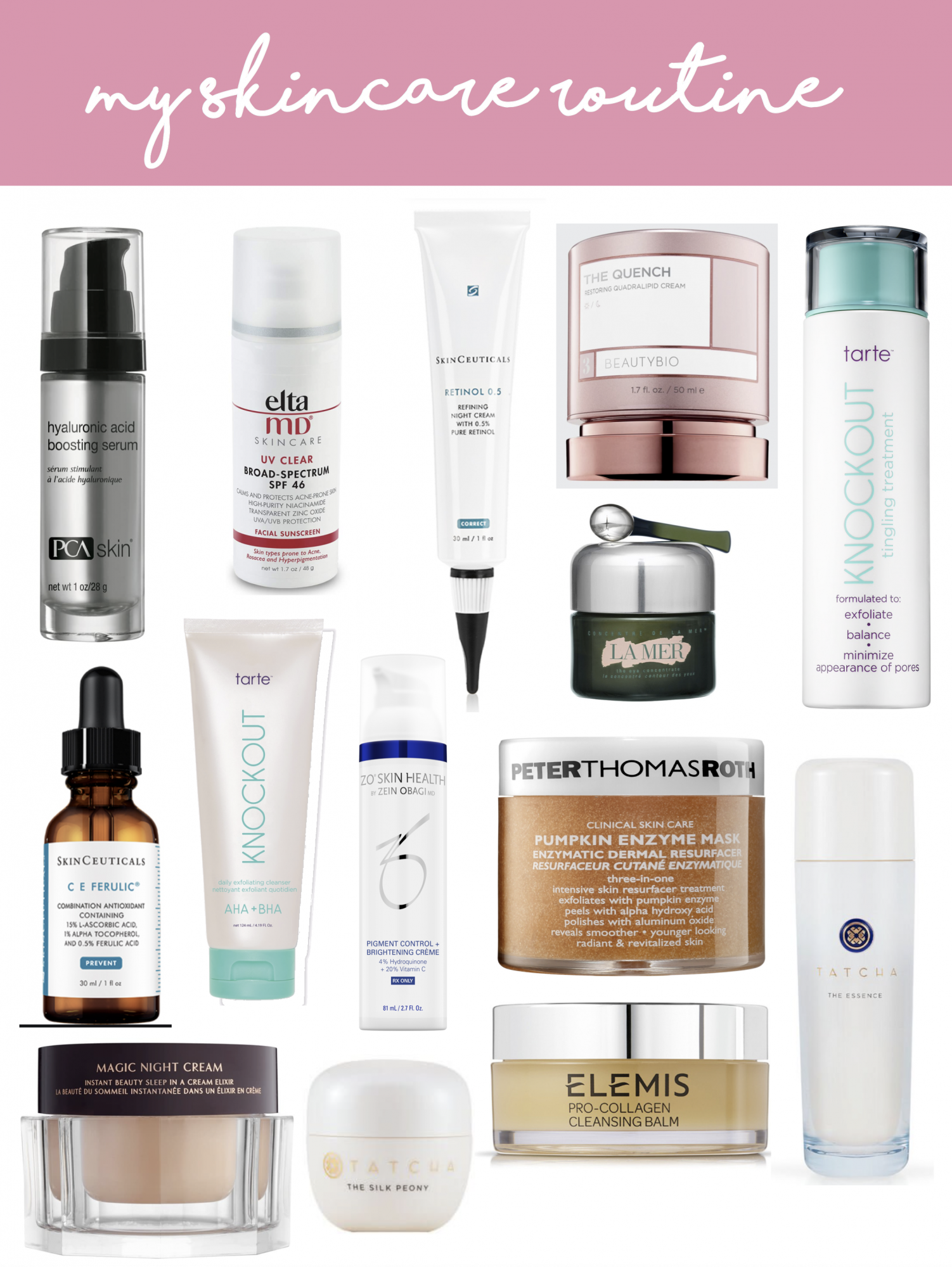 skincare routine, best skincare 2020, | How to Get Rid of Melasma by popular US beauty blog, The Sweetest Thing: collage image of Peter Thomas Roth pumpkin enzyme mask, Tarte knockout, Elemis Collagen cleansing balm, Hyaluronic acid boosting serum, Elta MD UV Clear, La Mer face scrub, and Beauty Bio The Quench.