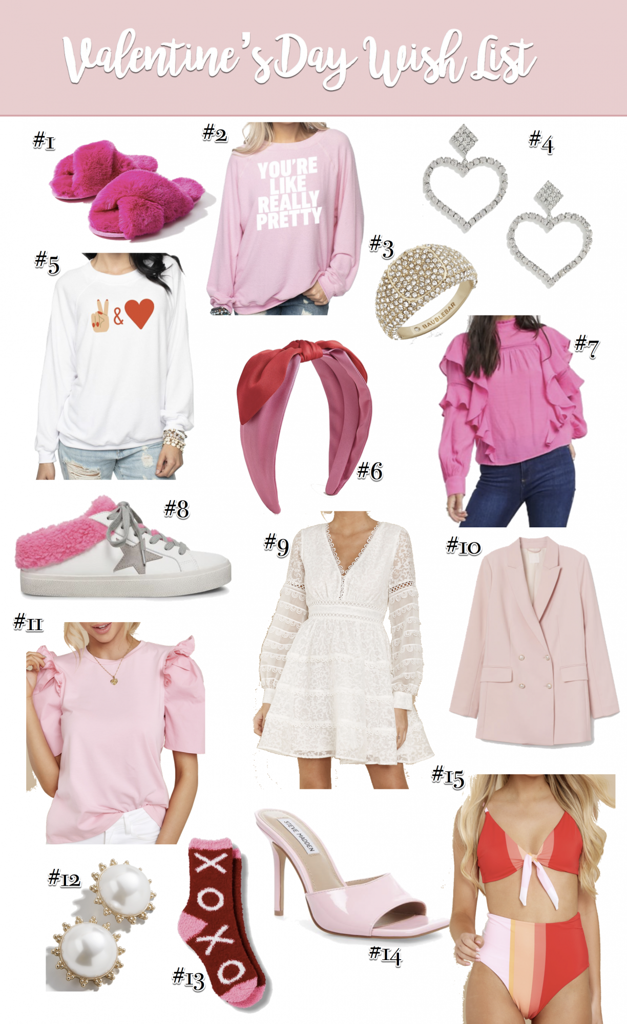valentines 2020 wish list gift guide | 2020 Valentine's Day Wish List by popular US fashion blog, The Sweetest Thing: collage image of Loft FAUX FUR SLIDE SLIPPERS, BUDDYLOVE COURTNEY GRAPHIC SWEATER - YOU'RE LIKE REALLY PRETTY, Baublebar SERILDA RING, Asos True Decadence rhinestone crystal heart drop earrings, BUDDYLOVE KEITH GRAPHIC SWEATER - PEACE AND LOVE, J. Crew Satin bow knot headband, Asos Vero Moda blouse with high neck and ruffle trim in pink, Steve Madden PETERS WHITE/PINK, Red Dress Timeless Influencer White Lace Dress, H & M Double-breasted Jacket, Red Dress Get Noticed Pink Top ENGLISH FACTORY, BaubleBar DEE PEARL BUTTON STUD EARRINGS, Target Women's XOXO Valentine's Day Cozy Crew Socks, Steve Madden SIGNAL PINK PATENT Bworldly, and Red Dress Summer Hype Red Multi Stripe Bikini Top.