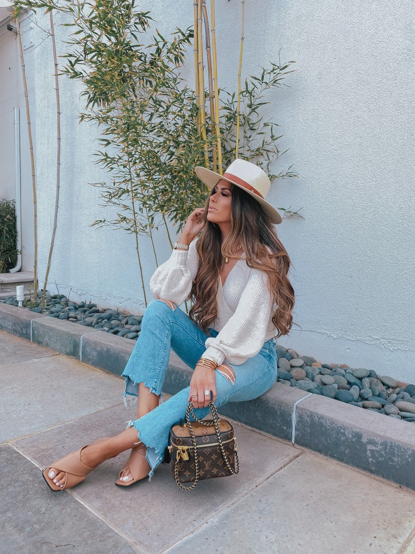 Instagram Recap by popular US lifestyle blog, The Sweetest Thing: image of Emily Gemma wearing a Cartier bracelet, Rolex watch, Fendi ring, Rag and Bone Wide Brim Panama Hat, Nordstrom The Insider Ripped Chew Hem Crop Bootcut Jeans MOTHER, ASTR the Label Denali Sweater , and Nordstrom Skyla Slide Sandal TOPSHOP.