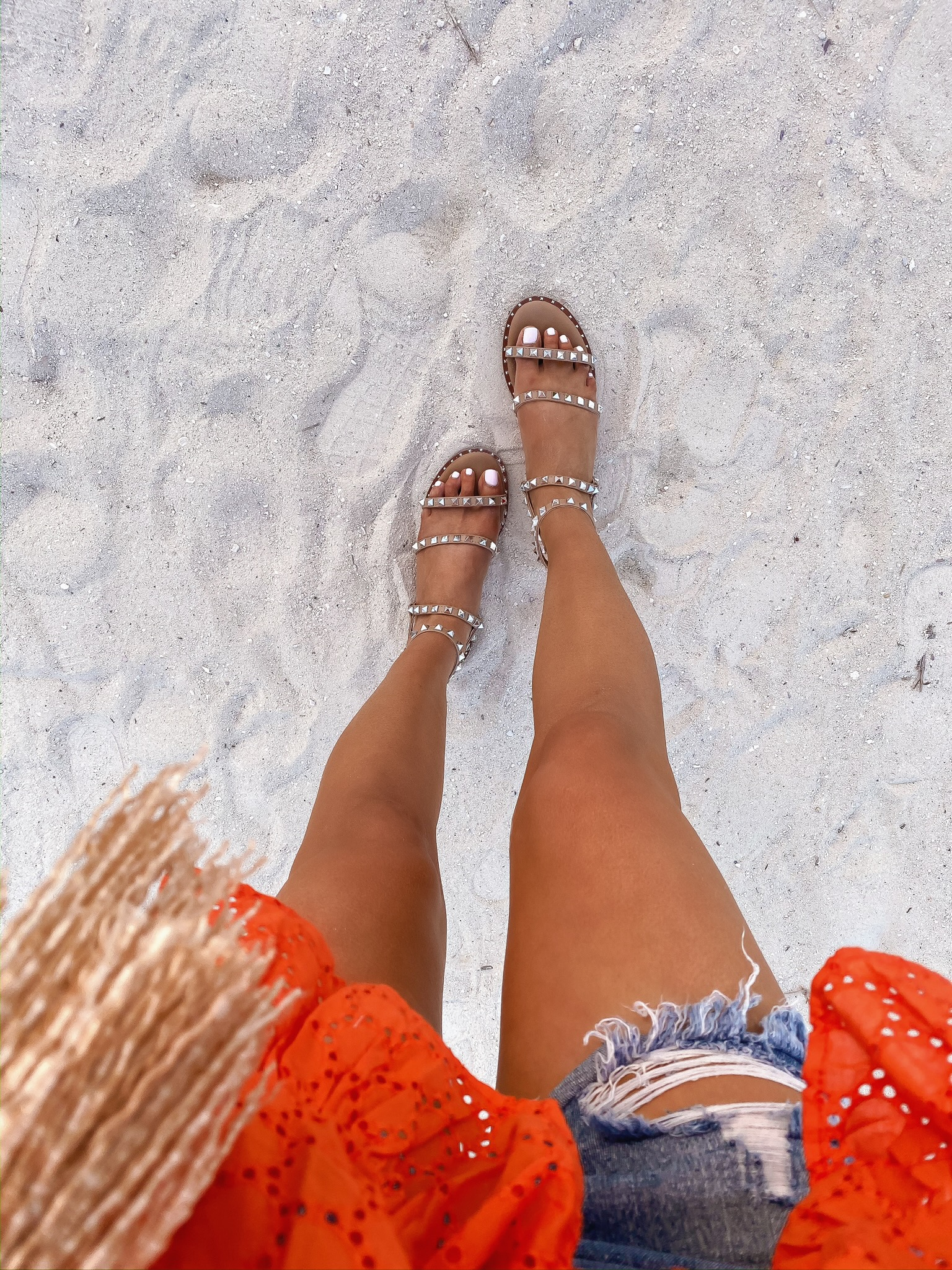 Instagram Fashion by popular US fashion blog, The Sweetest Thing: image of a woman wearing a ASOS ASOS DESIGN off shoulder top in broderie, Shopbop One Teaspoon Hendrix Bandit Shorts, and Steve Madden TRAVEL TAN sandals.