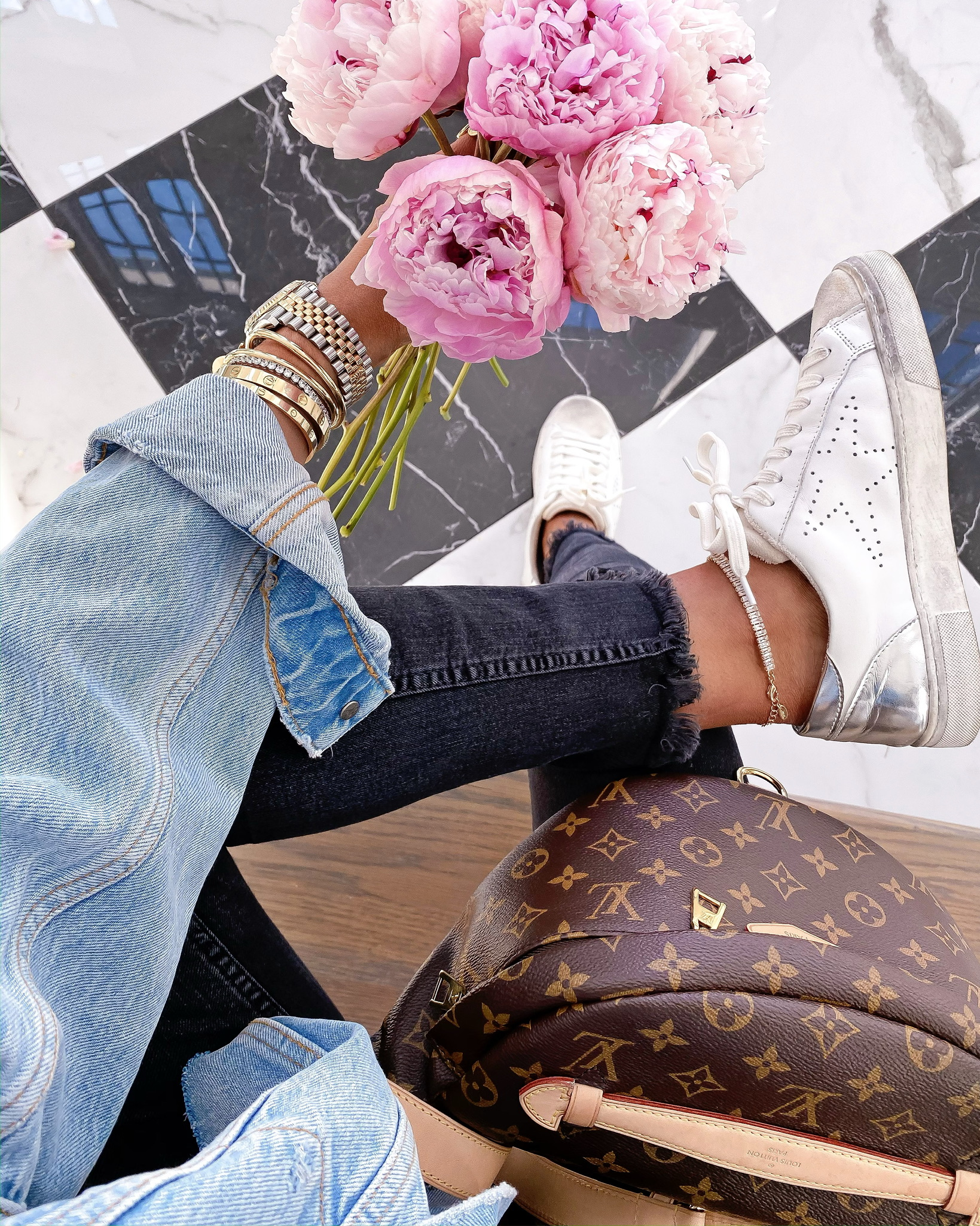 Instagram Recap by popular US lifestyle blog, The Sweetest Thing: image of Emily Gemma holding a bouquet of Pink Peonies and sitting next to a Louis Vuitton bumbag and wearing a Steve Madden REZZA WHITE sneaker, Nordstrom Crystal Pavé Chain Anklet ETTIKA, H&M Embrace High Ankle Jeans, Nordstrom Amelia Slouchy Trucker Jacket FREE PEOPLE, Fendi ring, Rolex watch, and Fendi double-logo charm ring.