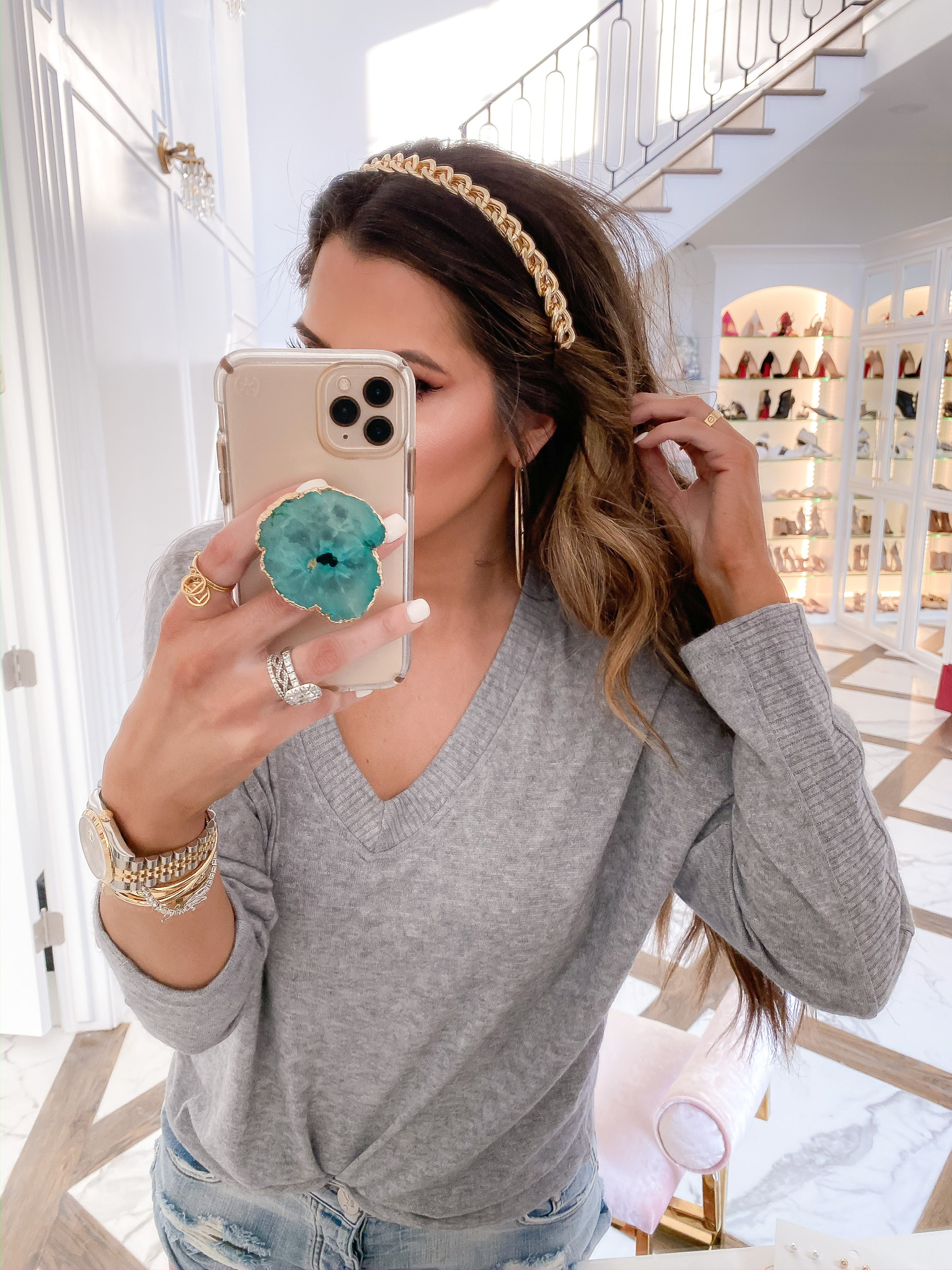 Blogging Newsletter by popular US life and style blog, The Sweetest Thing: image of a woman wearing a H&M Chain-embellished Hairband, Nordstrom V-Neck Sweater ALL IN FAVOR, Shopbop One Teaspoon Hendrix Bandit Shorts, and H&M hoop earrings.