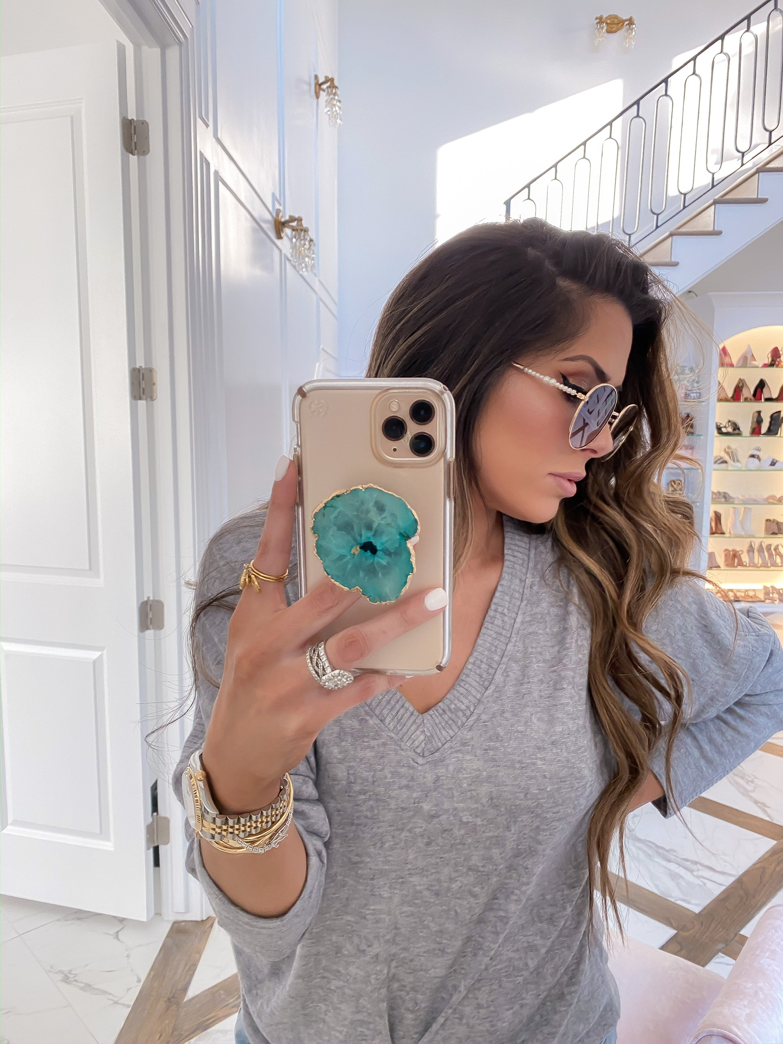 Blogging Newsletter by popular US life and style blog, The Sweetest Thing: image of a woman wearing a Rolex watch, Dior and Cartier stack, Nordstrom V-Neck Sweater ALL IN FAVOR, Shopbop One Teaspoon Hendrix Bandit Shorts , and H&M pearl embellished Sunglasses.