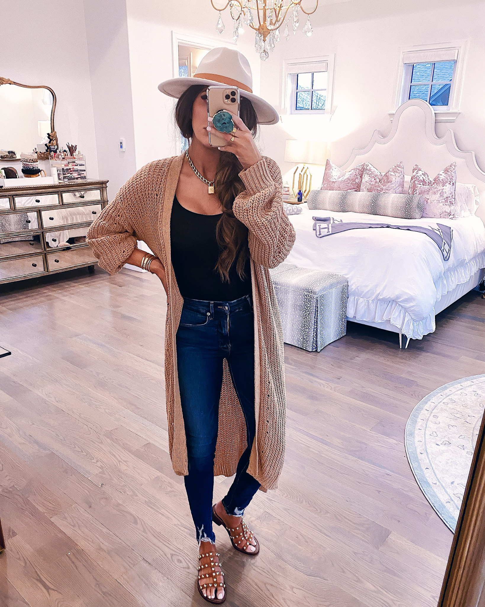 Instagram Recap by popular US lifestyle blog, The Sweetest Thing: image of Emily Gemma wearing a Express Ribbed Metallic Duster, Nordstrom Good Waist Distressed High Waist Ankle Skinny Jeans, Express Square Neck Tank, Nordstrom Juniper Studded Gladiator Slide Sandal SAM EDELMAN, Verishop Lady Grey Jewelry Varie Wrap Necklace, and Free People Beaumont Suede Band Felt.
