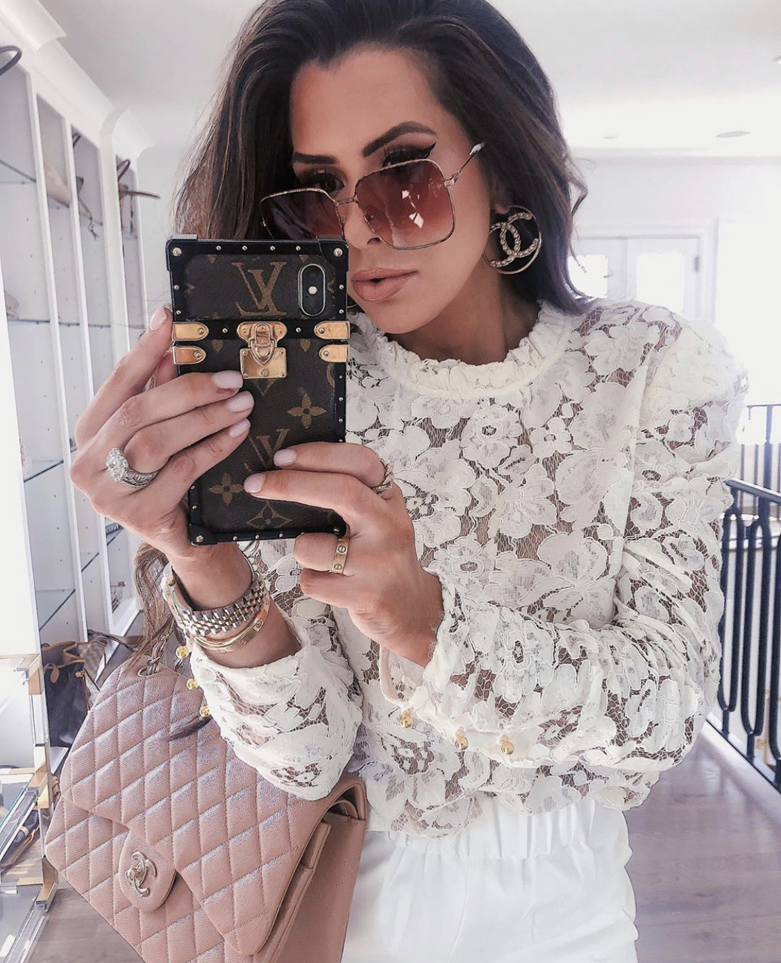 ShopBop Sale by popular US fashion blog, The Sweetest Thing: image of a woman wearing a ShopBop WAYF Emma Puff Sleeve Lace Top.