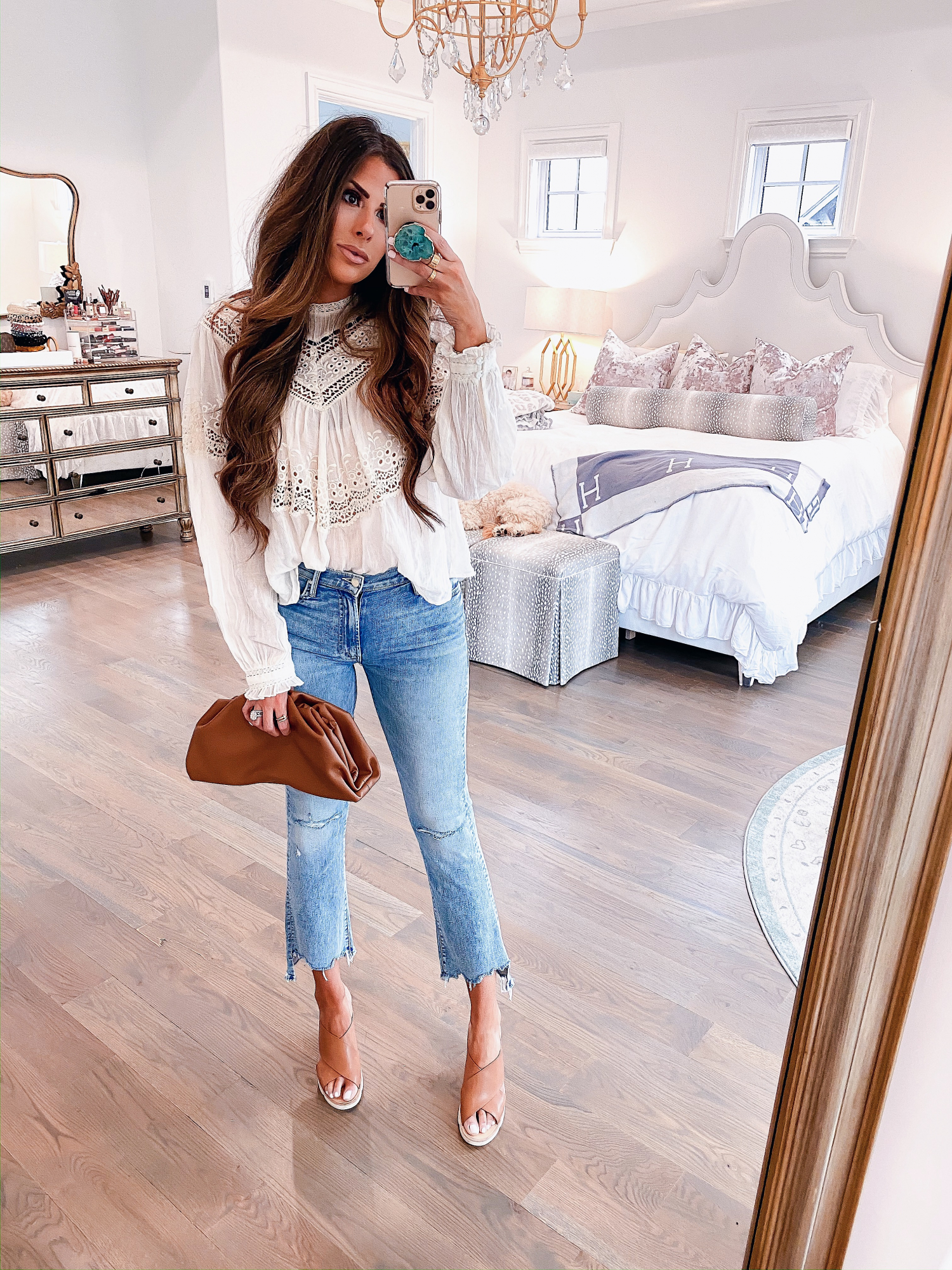 Instagram Recap by popular US lifestyle blog, The Sweetest Thing: image of Emily Gemma wearing a Free People top, Nordstrom Mother The Insider Ripped Chew Hem Crop Bootcut Jeans, PORT BUTTON STUD EARRINGS, Nordstrom Pillow Talk Lip Cheat Lip Liner CHARLOTTE TILBURY, Nordstrom Hot Lips Lipstick CHARLOTTE TILBURY, Nordstrom Gloss Luxe Moisturizing Lipgloss TOM FORD, Steve Madden FLORETTA COGNAC LEATHER wedges, and holding a Net-A-Porter BOTTEGA VENETA The Pouch small gathered leather clutch.
