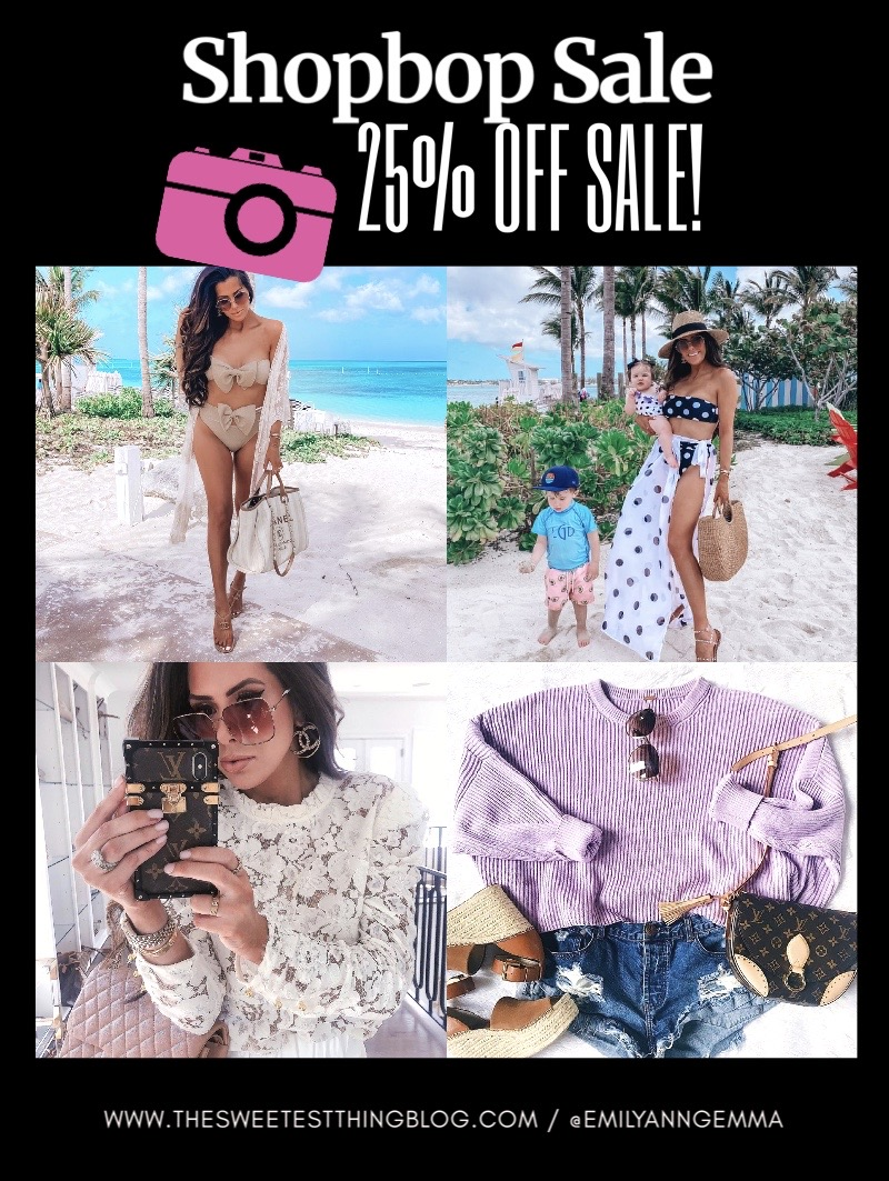 ShopBop Sale by popular US fashion blog, The Sweetest Thing: collage image of a woman wearing various ShopBop items.