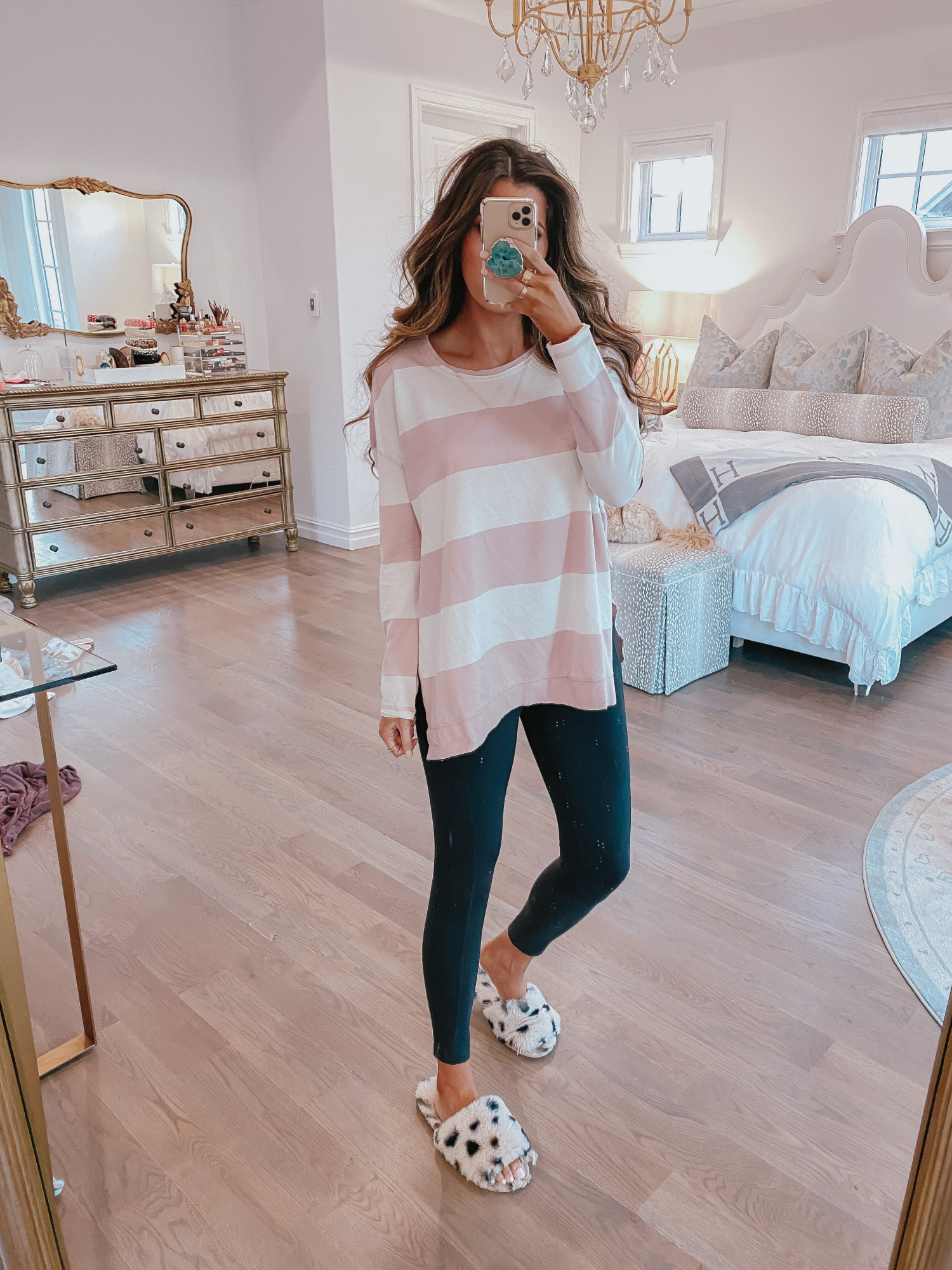 best black leggings, zella leggings review, black leggings with pockets, emily gemma | Comfortable Loungewear by popular US fashion blog, The Sweetest Thing: image of Emily Gemma wearing a Z Supply The Pale Blush Rugby Stripe Weekender Sweater and Nordstrom Zella leggings.