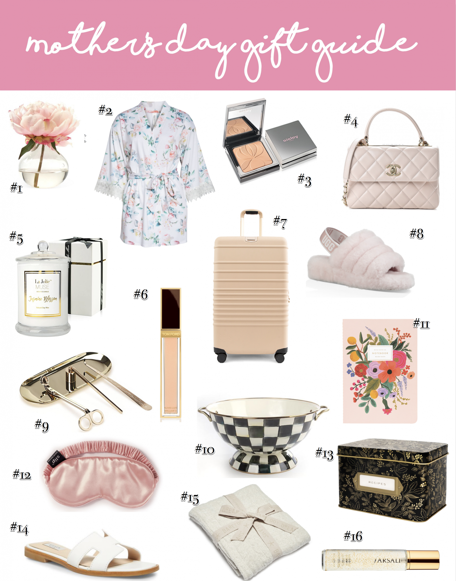Mother's day gift guide, gifts for mom, Mother's Day wish list | Mother's Day Gift Ideas by popular US life and style blog, The Sweetest Thing: collage image of Faux Peony in Vase, Floral Print Robe, Sisley Blur Powder, Chanel Bag, Jasmine Candle, Tom Ford Gloss Luxe Lip Gloss, BEIS Luggage, UGG Slippers, Candle Accessory Set, MacKenzie Childs Enamel Bowl, Garden Party Notebook Set, SLIP Pure Silk Sleep Mask,Rifle Paper Co. Tin Recipe Box, Steve Madden White Leather Sandals, Barefoot Dreams Throw Blanket, and Farsali Rose Gold 24K Skin Mist
