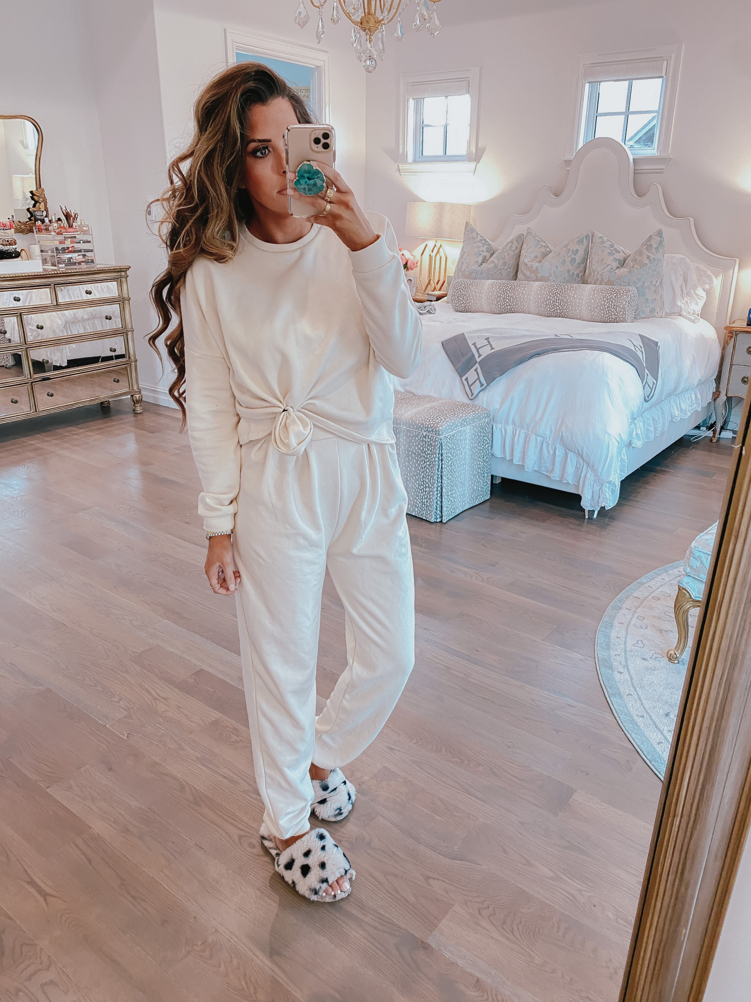 nasty gal loungewear review, cute loungwear outfits spring 2020, pinterest loungewear | Comfortable Loungewear by popular US fashion blog, The Sweetest Thing: image of Emily Gemma wearing a Z Supply The Pale Blush Rugby Stripe Weekender Sweater and Nordstrom Zella leggings.Comfortable Loungewear by popular US fashion blog, The Sweetest Thing: image of Emily Gemma wearing a Free People Culver City Set.
