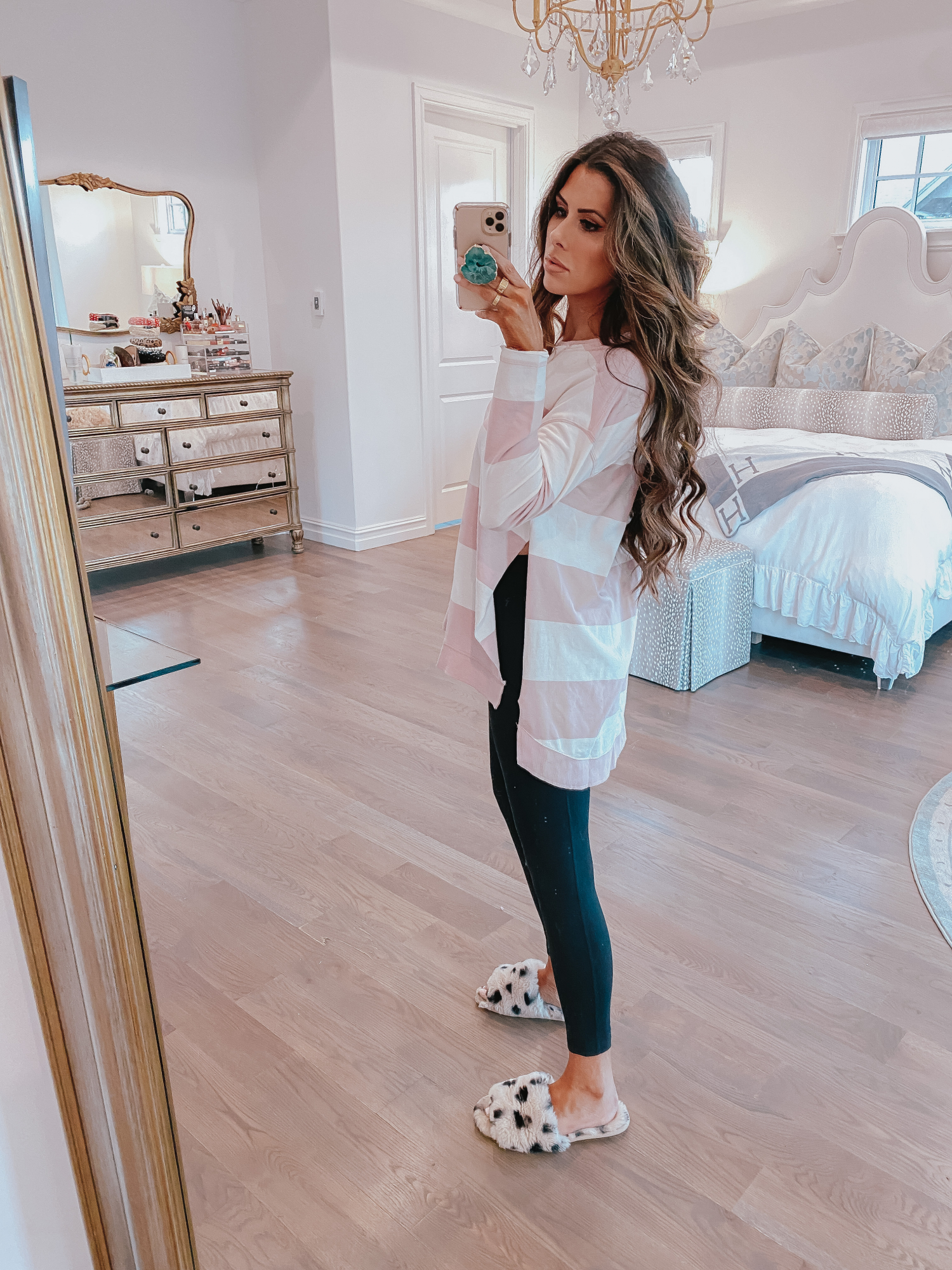 z supply striped sweatshirt, cute loungwear spring 2020 pinterest, emily gemma | Comfortable Loungewear by popular US fashion blog, The Sweetest Thing: image of Emily Gemma wearing a Z Supply The Pale Blush Rugby Stripe Weekender Sweater and Nordstrom Zella leggings.
