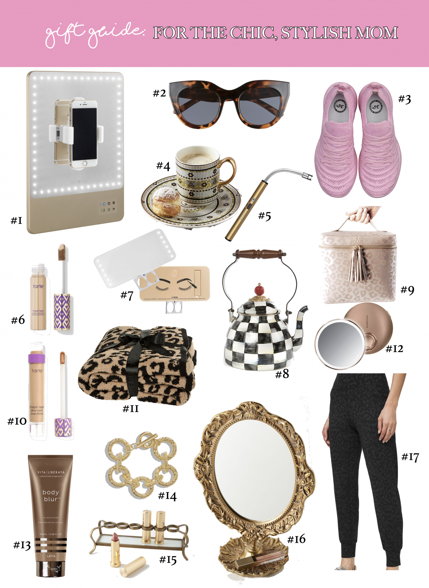 MOTHERS DAY GIFT GUIDE 2020, EMILY GEMMA | Stylish Mother's Day Gift Ideas by popular US life and style blog, The Sweetest Thing: collage image of a RIKI Skinny, Air Heart Sunglasses, APL Tennis Shoes, Garden Tile Mug, Re-Chargable Lighter, Tarte Shape Tape Concealer, RIKI Cutie, MacKenzie Childs Tea Kettle, Hollis Leopard Makeup Bag, Tarte Shape Tape Glow Wand, Barefoot Dreams Throw Blanket, Sensor Makeup Mirror Compact, Vita Liberata Body Blur, Parisian Links Bracelet, Lipstick Holder, Parisian Mirror Vanity, and Lululemon Leopard Joggers.