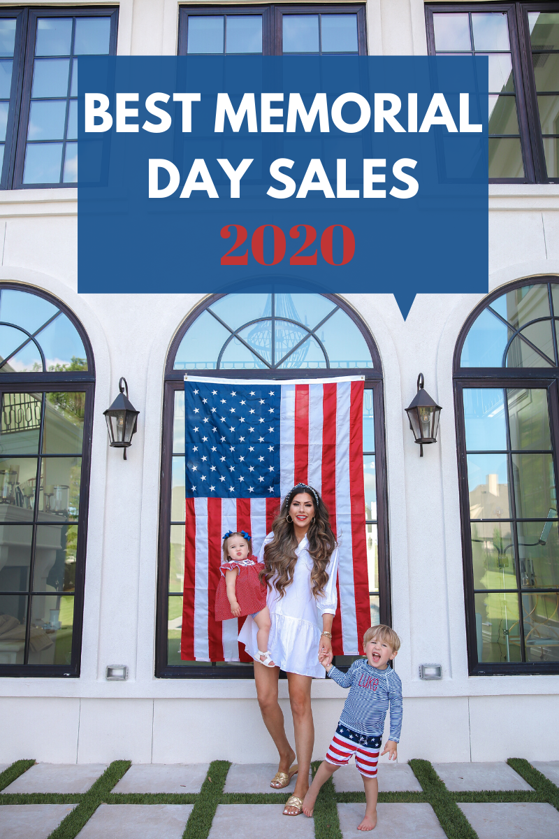best memorial day sales 2020, fashion blogger best memorial day sales 2020, emily gemma | Instagram Recap by popular US life and style blog, The Sweetest Thing: image of Emily Gemma standing outside with her son and daughter in front of an American flag and wearing a H&M Cotton Tunic, Marc Fisher gold slide sandals, The Styled Collection earrings, Smocked Auctions dress, and a blue and white stripe monogram rashguard.