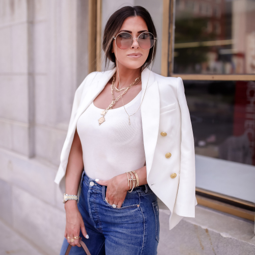 express spring fashion 2020, dior saddle bag, bottega stretch nude sandal, white blazer gold buttons balmain dupe, tulsa fashion blogger, emily gemma