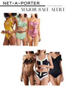 sale, summer trends, cute bathing suits | Net A Porter Sale by popular US fashion blog, The Sweetest Thing: collage image of cute and trendy swim suits.