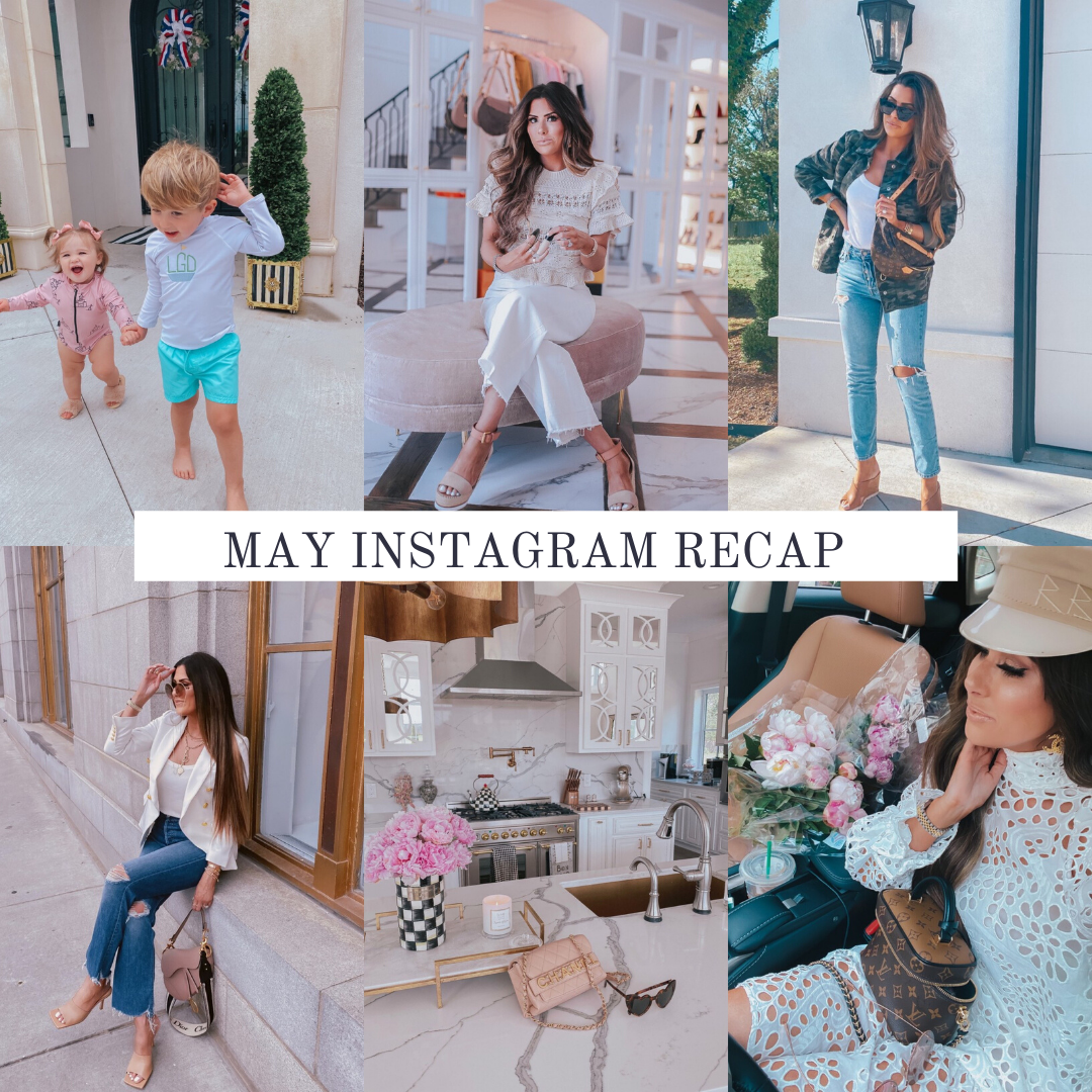 Instagram Recap by popular US life and style blog, The Sweetest Thing: collage image of Emily Gemma wearing various outfits.