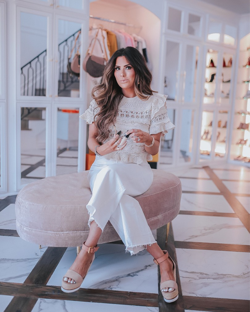 Instagram Recap by popular US life and style blog, The Sweetest Thing: image of Emily Gemma wearing a Zara top, H&M white jeans, and See by Chloe wedges.