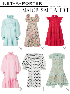 summer fashion, summer dresses, major sale items | Net A Porter Sale by popular US fashion blog, The Sweetest Thing: collage image of a AVAVAV Ruffled silk-charmeuse mini dress, FAITHFULL THE BRAND De Christin shirred floral-print linen midi dress, RHODE Tiffany ruffled tiered cotton-poplin mini dress, AVAVAV Ruffled smocked cotton-poplin dress, SLEEPER Atlanta off-the-shoulder shirred polka-dot silk-satin midi dress, and SELF-PORTRAIT Asymmetric grosgrain-trimmed corded lace mini dress.