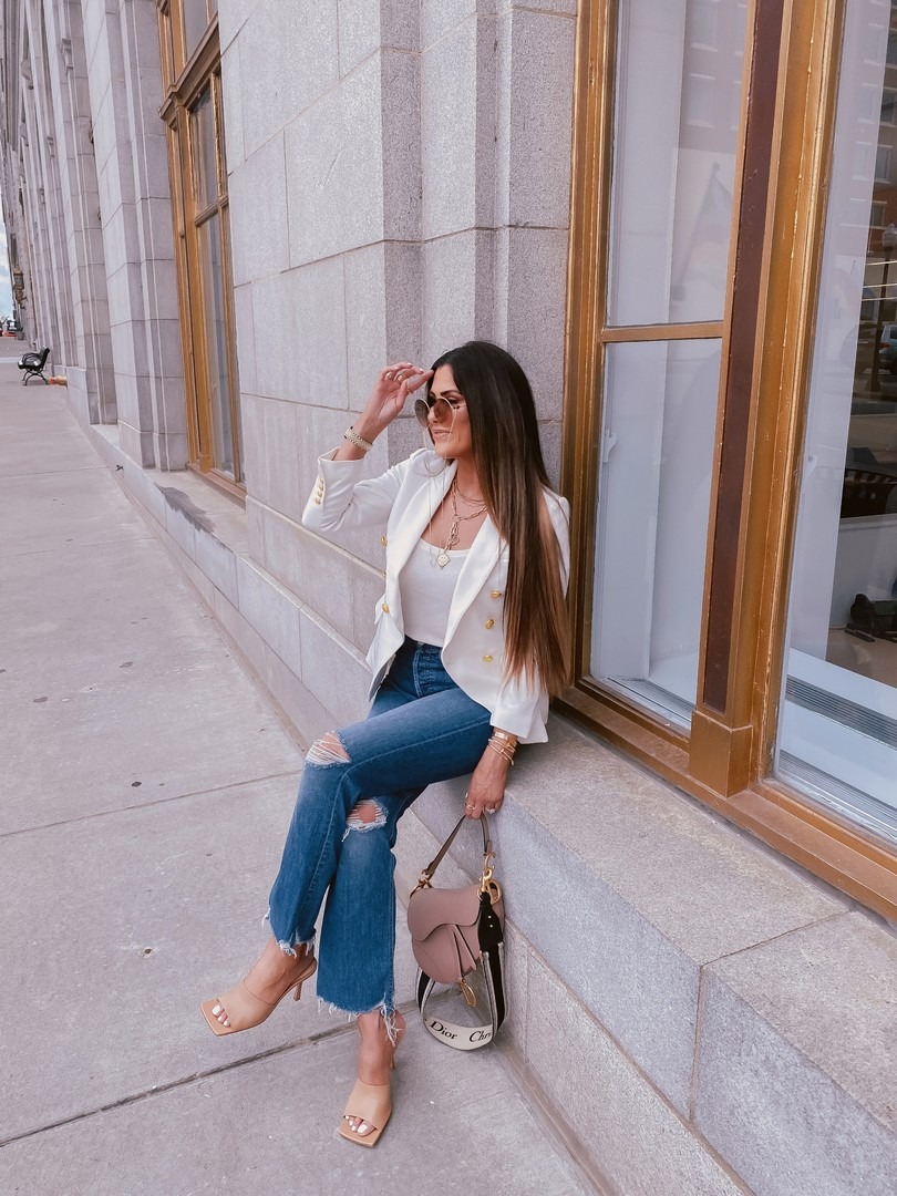 Instagram Recap by popular US life and style blog, The Sweetest Thing: image of Emily Gemma wearing a Express Double Breasted 3/4 Sleeve Novelty Button Blazer, Express Scoop Neck Sweater Cami, Bottega Veneta heel sandals, Express Sunglass chain, Dior sunglasses, Cartier jewelry and holding a Dior bag.