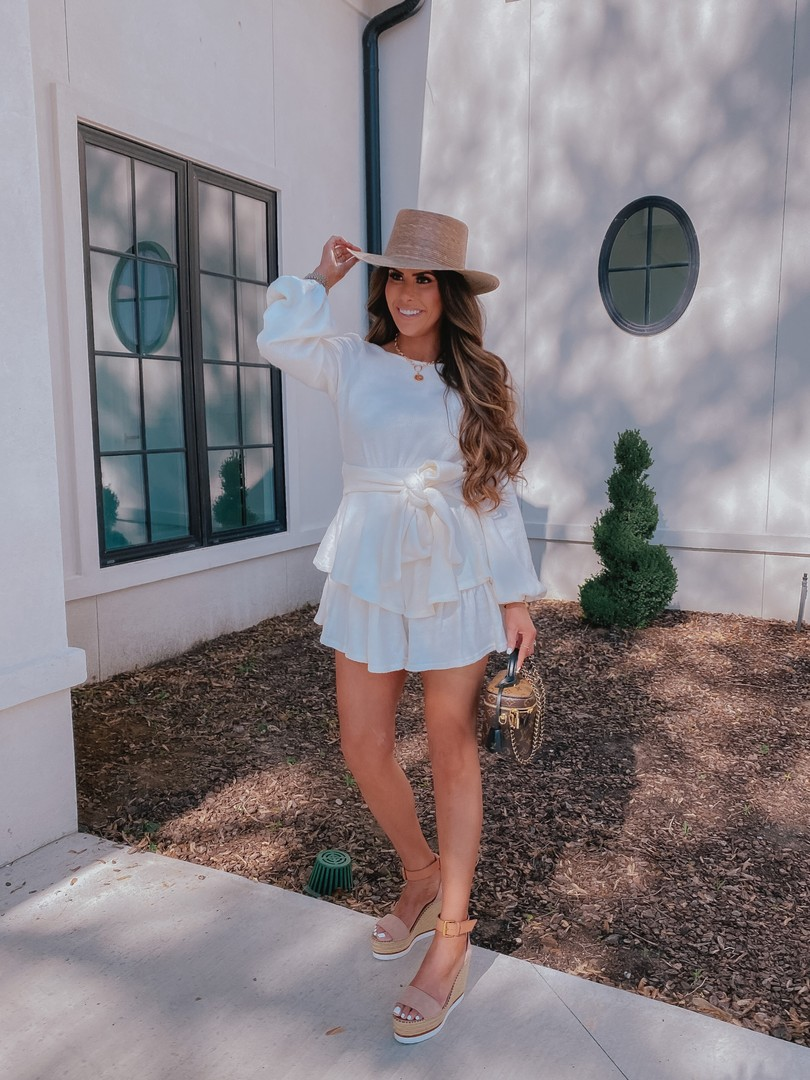 Instagram Recap by popular US life and style blog, The Sweetest Thing: image of Emily Gemma wearing a Aura romper, See by Chloe wedges, Lack of Color hat and holding a Louis Vuitton bag.