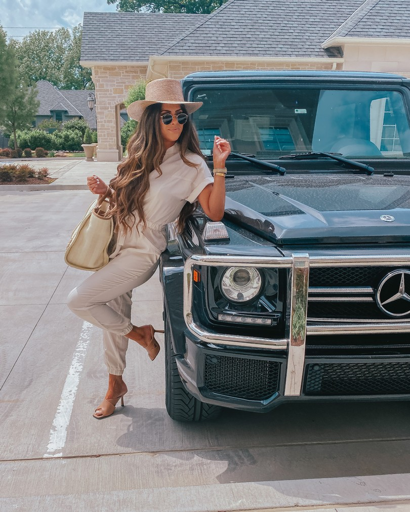 Instagram Recap by popular US life and style blog, The Sweetest Thing: image of Emily Gemma wearing a Express Zip Front Utility Jumpsuit, Lack of Color Hat, Express Large Metal Hoop Earrings, and holding a Chanel bag.