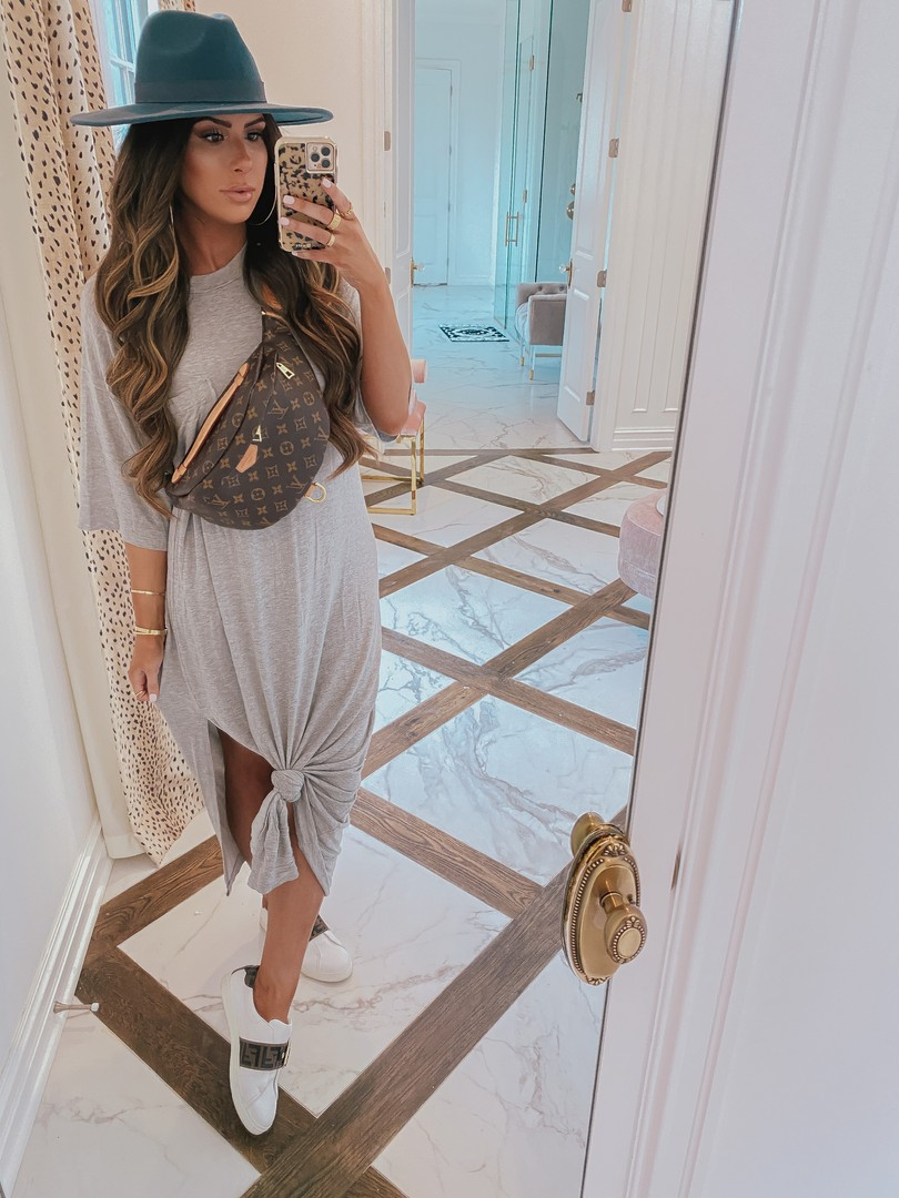 Instagram Recap by popular US life and style blog, The Sweetest Thing: image of Emily Gemma wearing a grey Story t-shirt dress, Fendi sneakers, Free People hat, Louis Vuitton bum bag, and holding a phone in a leopard print Case-mate phone case.