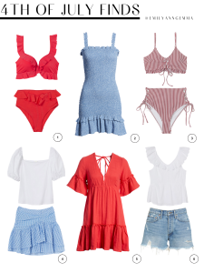 4th of July Outfit, Red White and Blue, Stars and Stripes, Jean Shorts, Bikini, Summer Fashion | 4th of July Outfits by popular US fashion blog, The Sweetest Thing: collage image of a H&M bikini top and H&M bikini bottoms, One Clothing smocked blue dress, Chelsea28 top and H&M mini skirt, Red Billabong dress, and AGOLDE shorts and H&M white flutter sleeve top.
