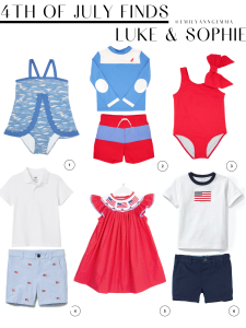 Kids Clothes, 4th of July Baby Outfit, Red White and Blue, Baby Girl Swimsuit, American Flag, Summer Baby Clothes | 4th of July Outfits by popular US fashion blog, The Sweetest Thing: collage image of a Beaufort Bonnet scalloped swimsuit, Beaufort Bonnet swim shirt, Beaufort Bonnet swim trunks, Nordstrom white polo, Nordstrom flag shorts, Smocked Auctions flag dress, Janie and Jack flag shirt and H&M blue shorts.