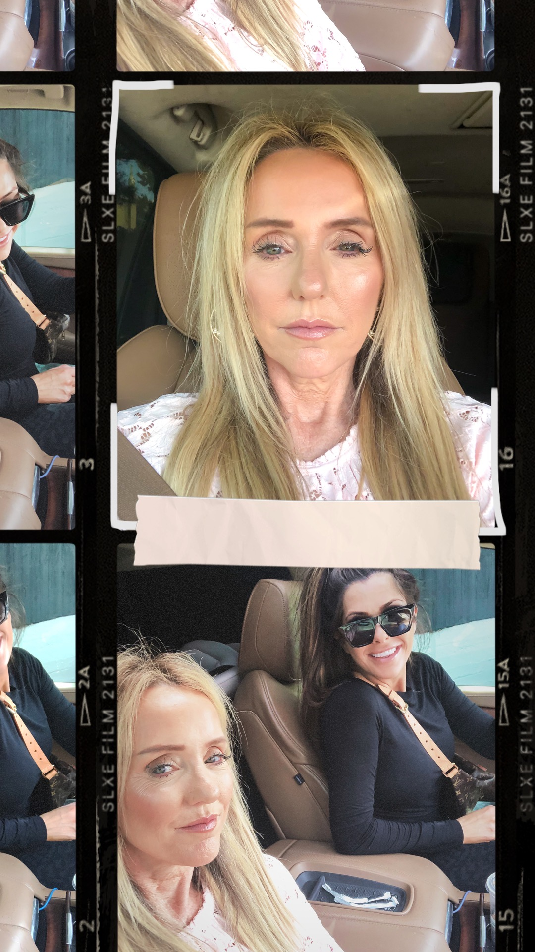 skincare review, makeup for over 50, bellafill before and after, | Makeup Routine by popular US beauty blog, The Sweetest Thing: collage image of Emily Gemma and her mom Coco riding in a car.