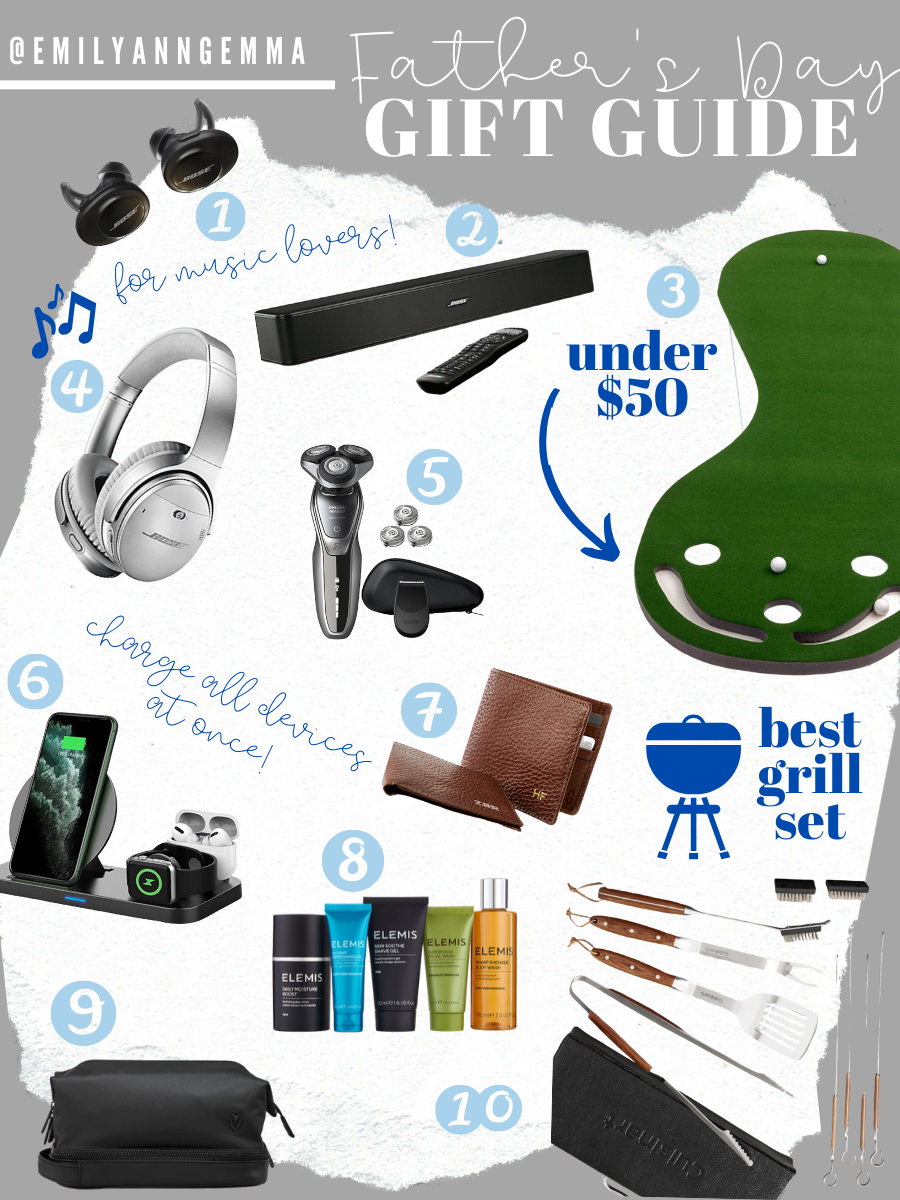 Father's Day Gift Ideas by popular US lifestyle blog, The Sweetest Thing: collage image of Bose wireless headphones, Bose sound bar, putting green, Bose Quiet Comfort Wireless Headphone II, Electric Shaver and Accessory Kit, Charging Station, Mark and Graham leather wallet, Elemis travel set, Skyline Dopp kit, and a wood-handled grill set.