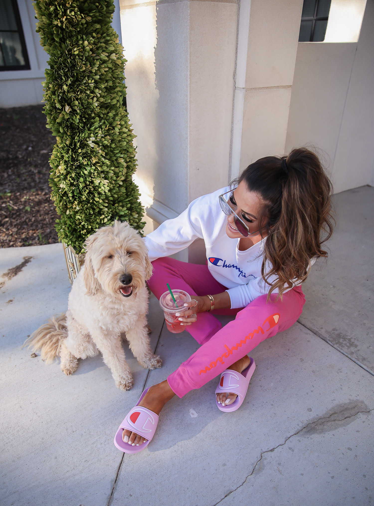 champion sweatshirt, pink champion slides, walmart fashion 2020, emily gemma, walmart champion outfit | Instagram Recap by popular US life and style blog, The Sweetest Thing: image of Emily Gemma wearing a Champion sweatshirt, Champion Sweatpants, and Champion slide sandals.