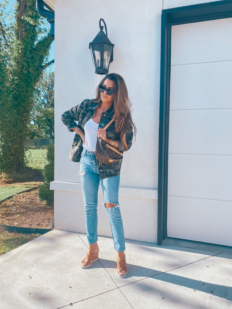 Instagram Recap by popular US life and style blog, The Sweetest Thing: image of Emily Gemma wearing a Express Scoop Neck Sweater Cami, Nordstrom 54mm Small Rectangular Sunglasses BP., Steve Madden FLORETTA COGNAC LEATHER, Good American camo jacket, and holding a Louis Vuitton bum bag.