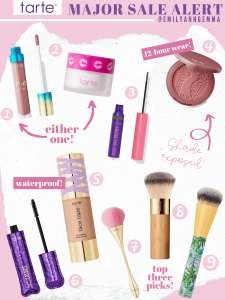 Best Tarte Products by popular US beauty blog, The Sweetest Thing: collage image of Tarte H2O lipgloss, Tarte Pout Prep lip exfoliant, Tarte Busy Gal Brows tainted gel, Tarte Amazon Clay 12 hour blush, Tarte Face Tape foundation, Tarte Lights Camera Lashes mascara, Tarte Super Power Powder Brush, Tarte Airbrush Finish Bamboo Powder Brush, and Tarte Foundcealer brush.