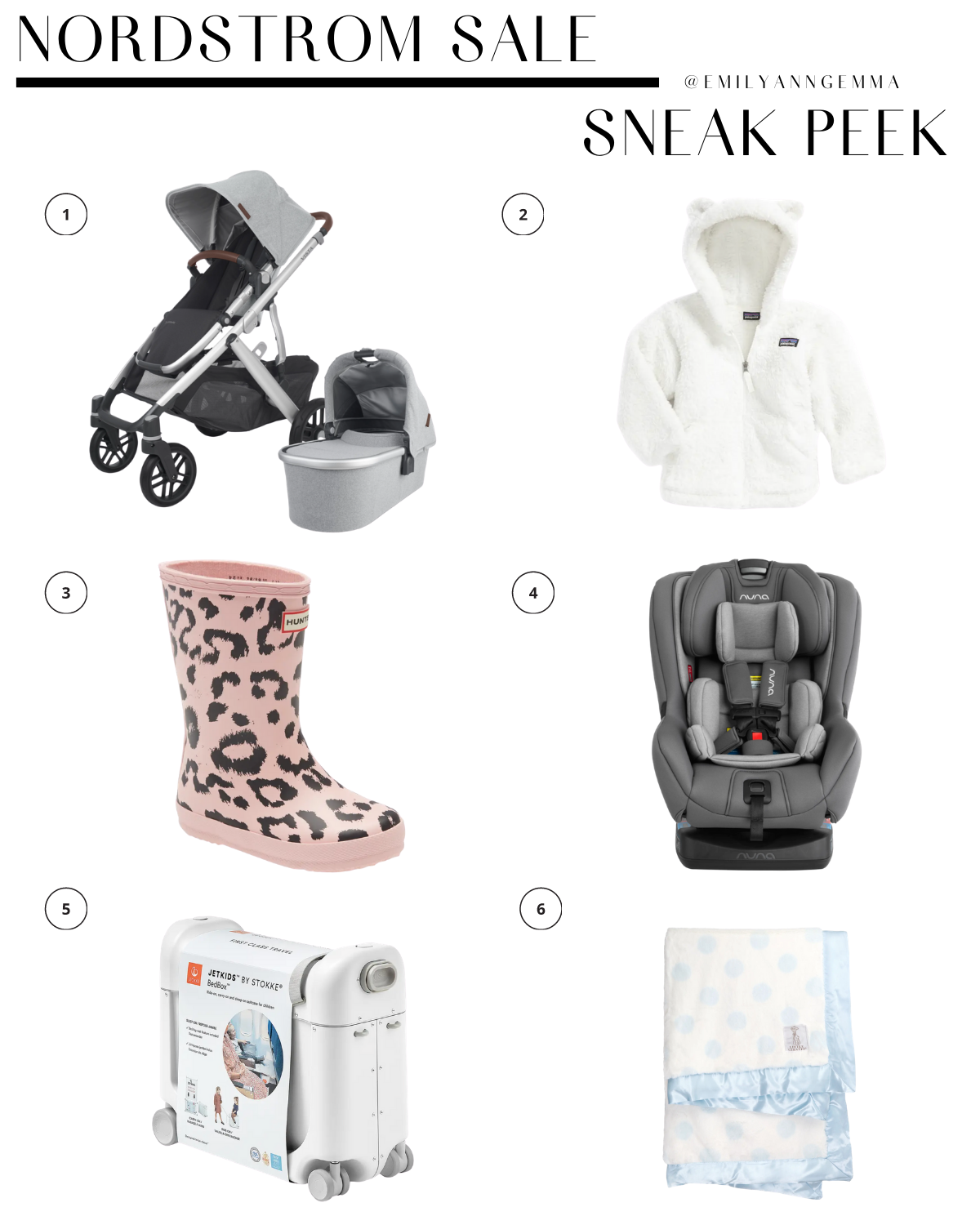 nsale 2020, nordstrom anniversary sale 2020, uppababy stroller Nordstorm sale, NUNA carseat Nordstrom sale, must have blog posts nordstrom sale 2020, Emily Ann Gemma, the sweetest thing blog | Nordstrom Anniversary Sale by popular US fashion blog, The Sweetest Thing: image of a Nordstrom UPPA BABY Vista V2 Stella Stroller with Bassinet, PATAGONIA Furry Friends Fleece Hoodie, HUNTER BOOTS, NUNA RAVA™ Flame Retardant Free Convertible Car Seat, STOKKE Jetkids Suitcase, LITTLE GIRAFFE Luxe™ Dream Dot Faux Fur Baby Blanket.