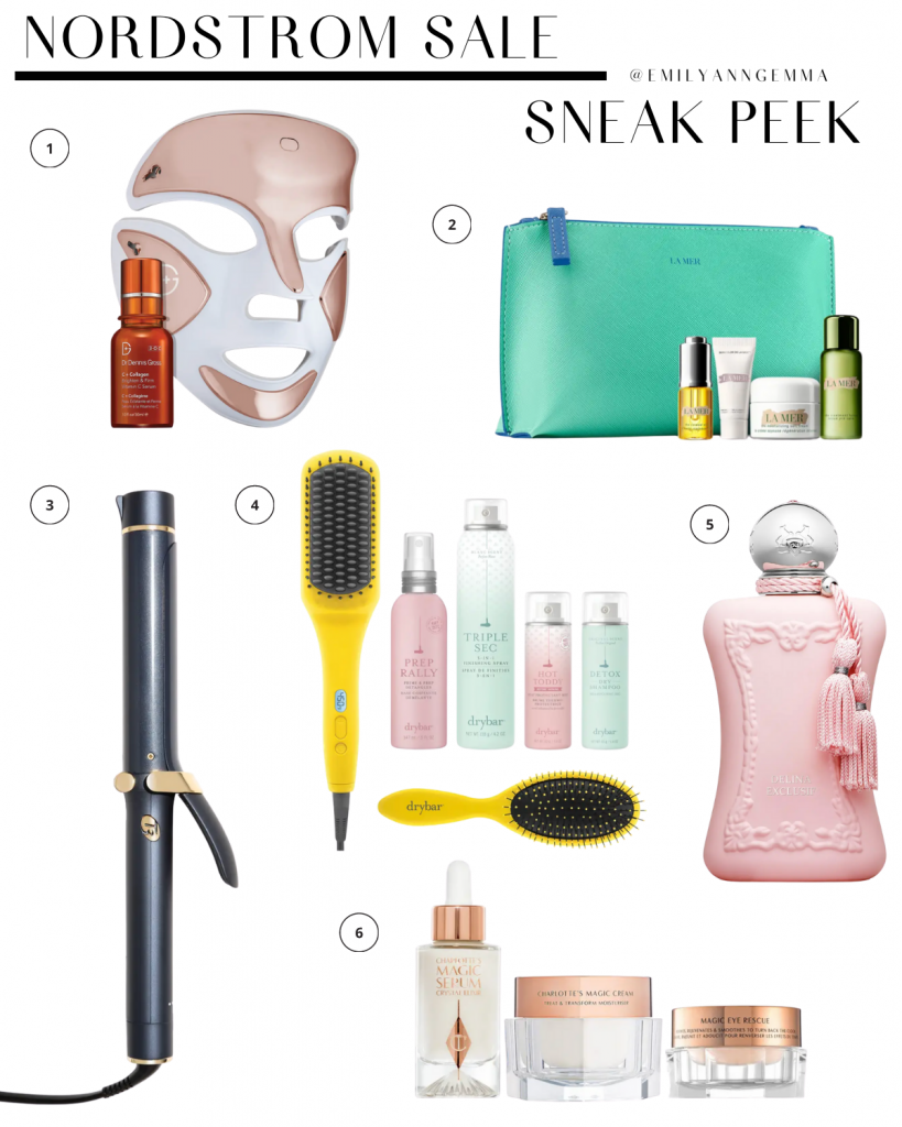 nsale 2020, nordstrom anniversary sale 2020, beauty products Nordstrom sale, must have blog posts nordstrom sale 2020, Emily Ann Gemma, the sweetest thing blog | Nordstrom Anniversary Sale by popular US fashion blog, The Sweetest Thing: image of Nordstrom DR. DENNIS GROSS LED Light Therapy Device, LA MER KIT Mini Miracles Soft Cream Set, T3 MICRO i1.4 Inch Midnight blue Single Pass Curling Iron, DRYBAR Set, DELINA Parfum, and Charlotte Tilbury Red Carpet Skin Secrets Set.