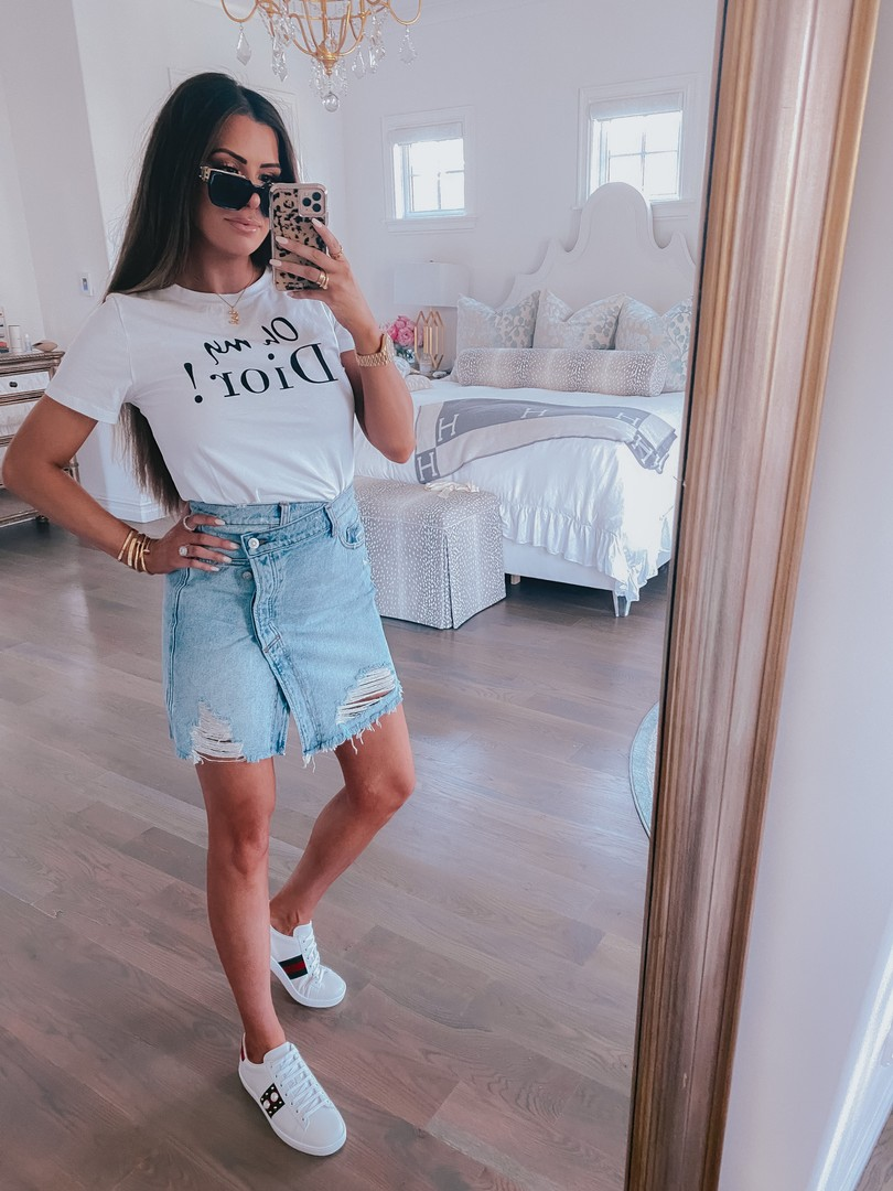 Instagram Recap by popular US life an style blog, The Sweetest Thing: image of Emily Gemma wearing a Free People denim skirt, Gucci sneakers, Hello Molly Shirt, Chloe necklace, and Louis Vuitton sunglasses.