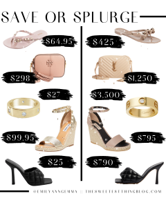 save or splurge, designer dupes, designer deals | Save or Splurge Fashion by popular US fashion blog, The Sweetest Thing: collage image of studded flip flops, designer bags, gold rings, espadrille wedges, and black heel slide sandals.
