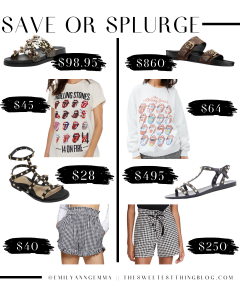 save or splurge, designer dupes, designer deals | Save or Splurge Fashion by popular US fashion blog, The Sweetest Thing: collage image of slide sandals, Rolling Stones shirts, black studded strap sandals, and black and white gingham shorts.