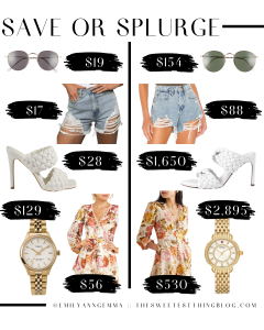 save or splurge, designer dupes, designer deals | Save or Splurge Fashion by popular US fashion blog, The Sweetest Thing: collage image of sunglasses, cutoff distressed denim shorts, white heel sandals, gold watches, and floral dresses.