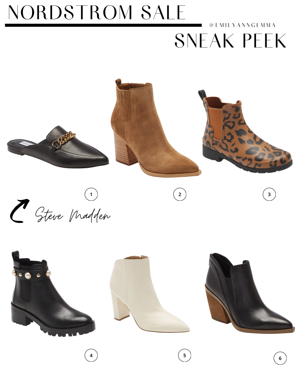 nsale 2020, nordstrom anniversary sale 2020, boots and booties Nordstrom sale, Steve Madden slides nsale, must have blog posts nordstrom sale 2020, Emily Ann Gemma, the sweetest thing blog | Nordstrom Anniversary Sale by popular US fashion blog, The Sweetest Thing: image of Nordstrom STEVE MADDEN Forever Chain Pointed Mule, MARC FISHER LTD. Oshay Pointed Toe Bootie, HUNTER Original Leopard Print Waterproof Rain Boot, KARL LAGERFIELD Paris Pola Studded Chelsea Bootie, MARC FISHER LTD. Unno Bootie, VINCE CAMUTO Gradina Block Heel Bootie.