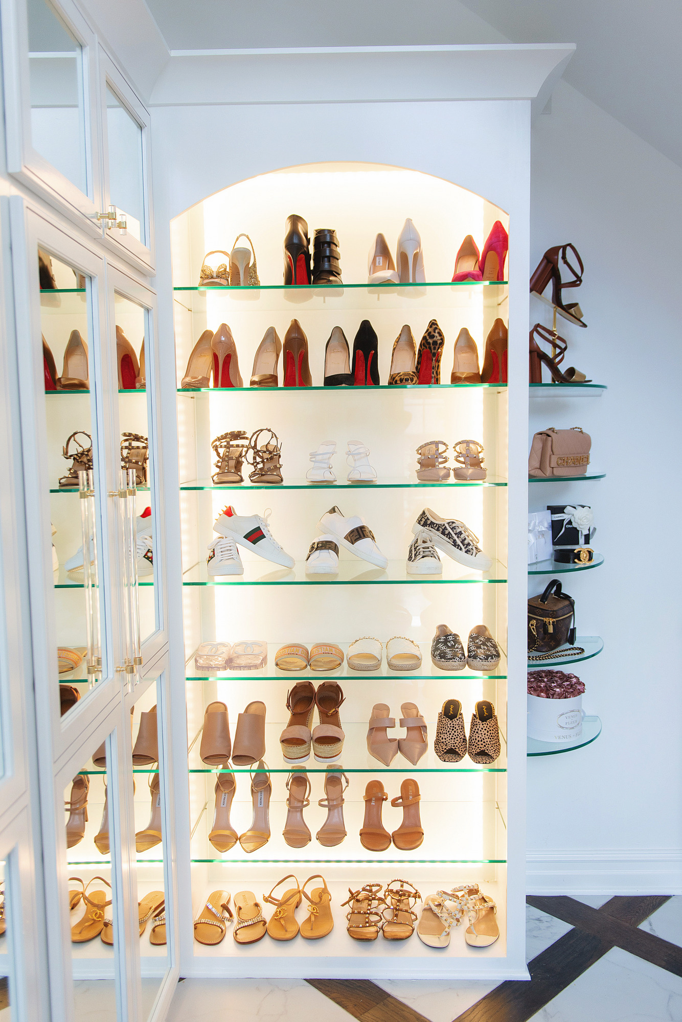 Blog Design by popular US lifestyle blog, The Sweetest Thing: image of a shoe display filled with Christian Louboutain heels, Steve Madden heels, and other designer shoes.
